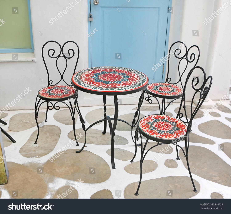 Coffee Table Garden Set: Garden Table Set On The Coffee Shop Balcony Stock Photo
