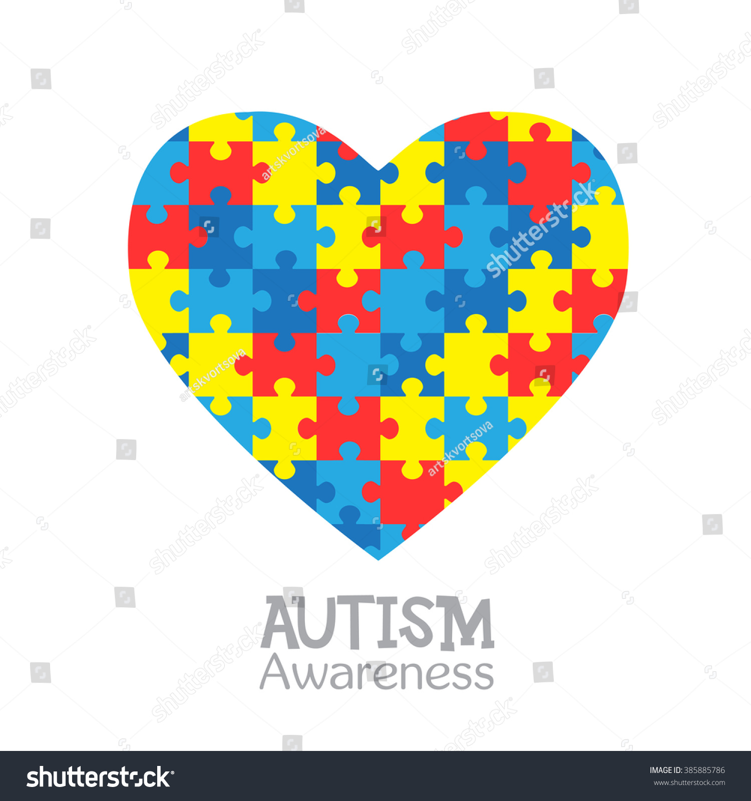 World autism awareness day vector design stock vector 385885786 world autism awareness day vector design illustration with heart consisting of colorful puzzles on a biocorpaavc