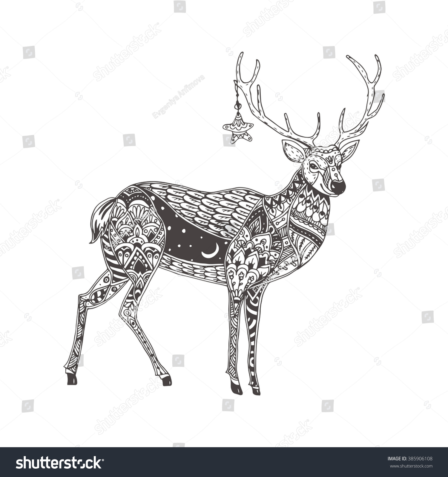 Deer Handdrawn Reindeer Ethnic Doodle Pattern Stock Vector 385906108 ...