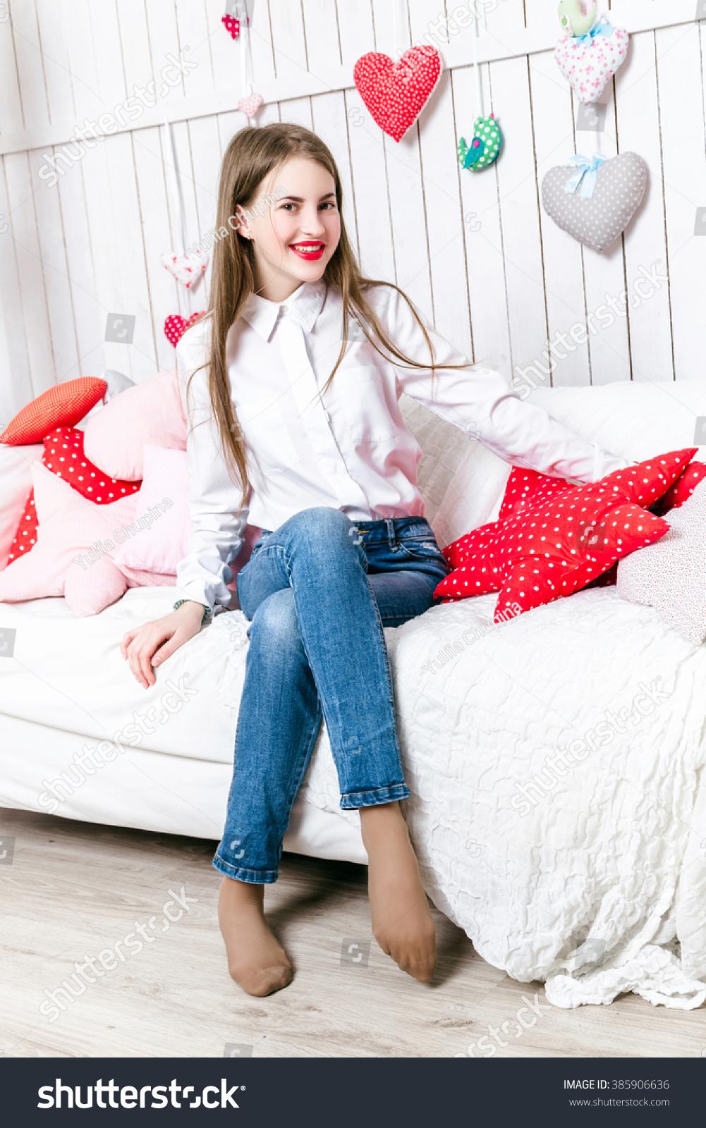 Beautiful Girl Dressed Jeans White Shirt Stock Photo