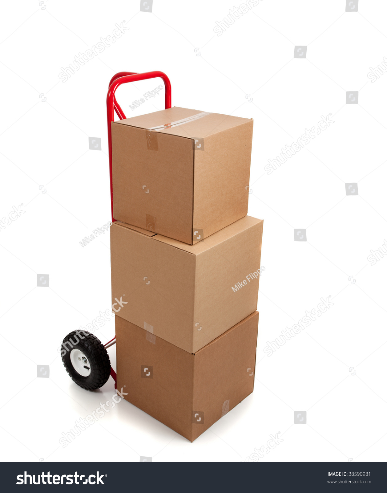 A On Box : Brown cardboard moving box on white stock photo