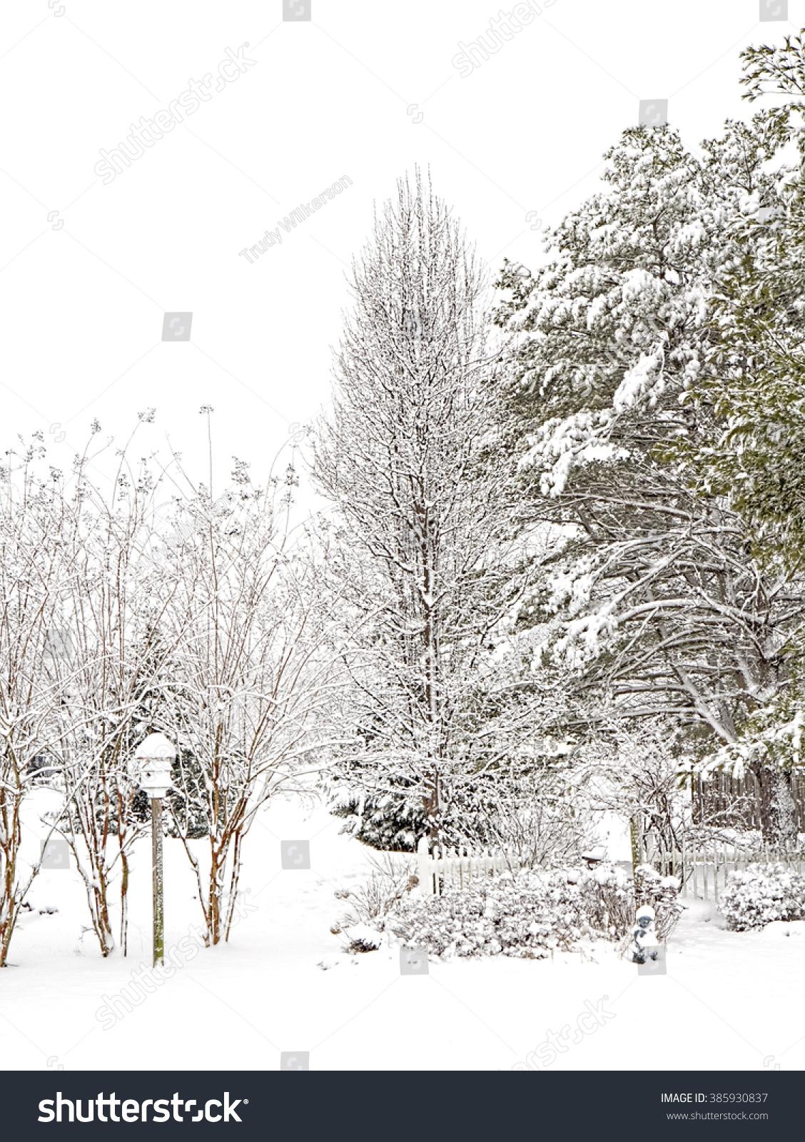snow scene backyard garden stock photo 385930837 shutterstock