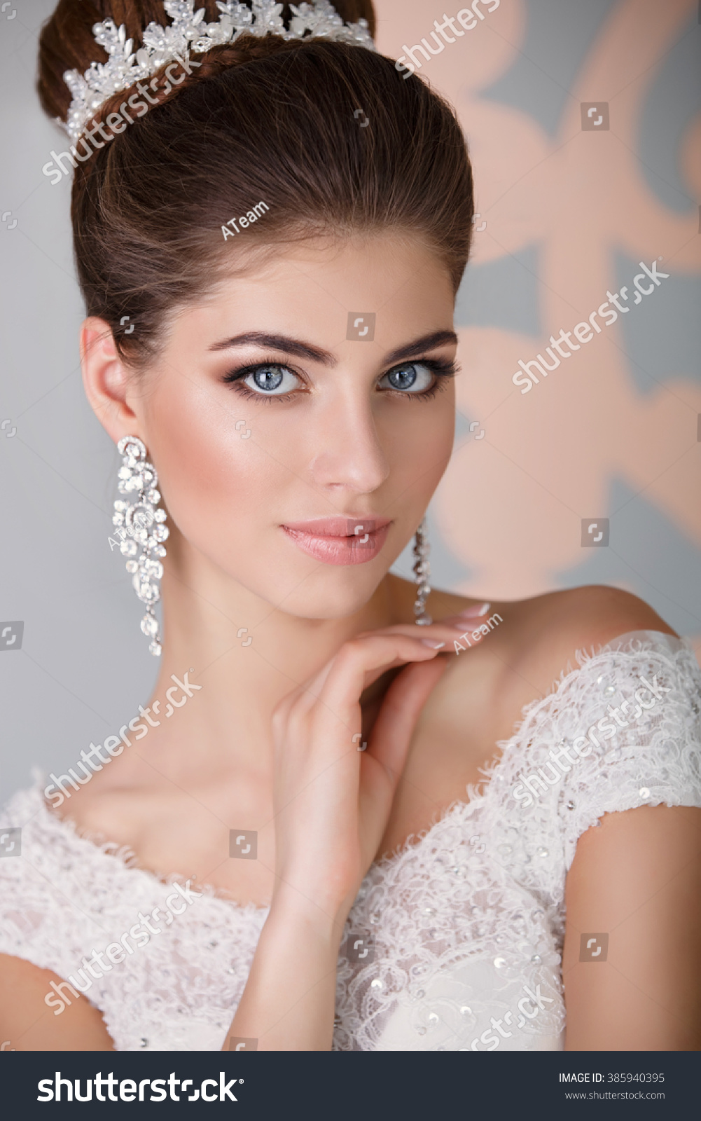 beautiful bride portrait wedding makeup hairstyle stock photo