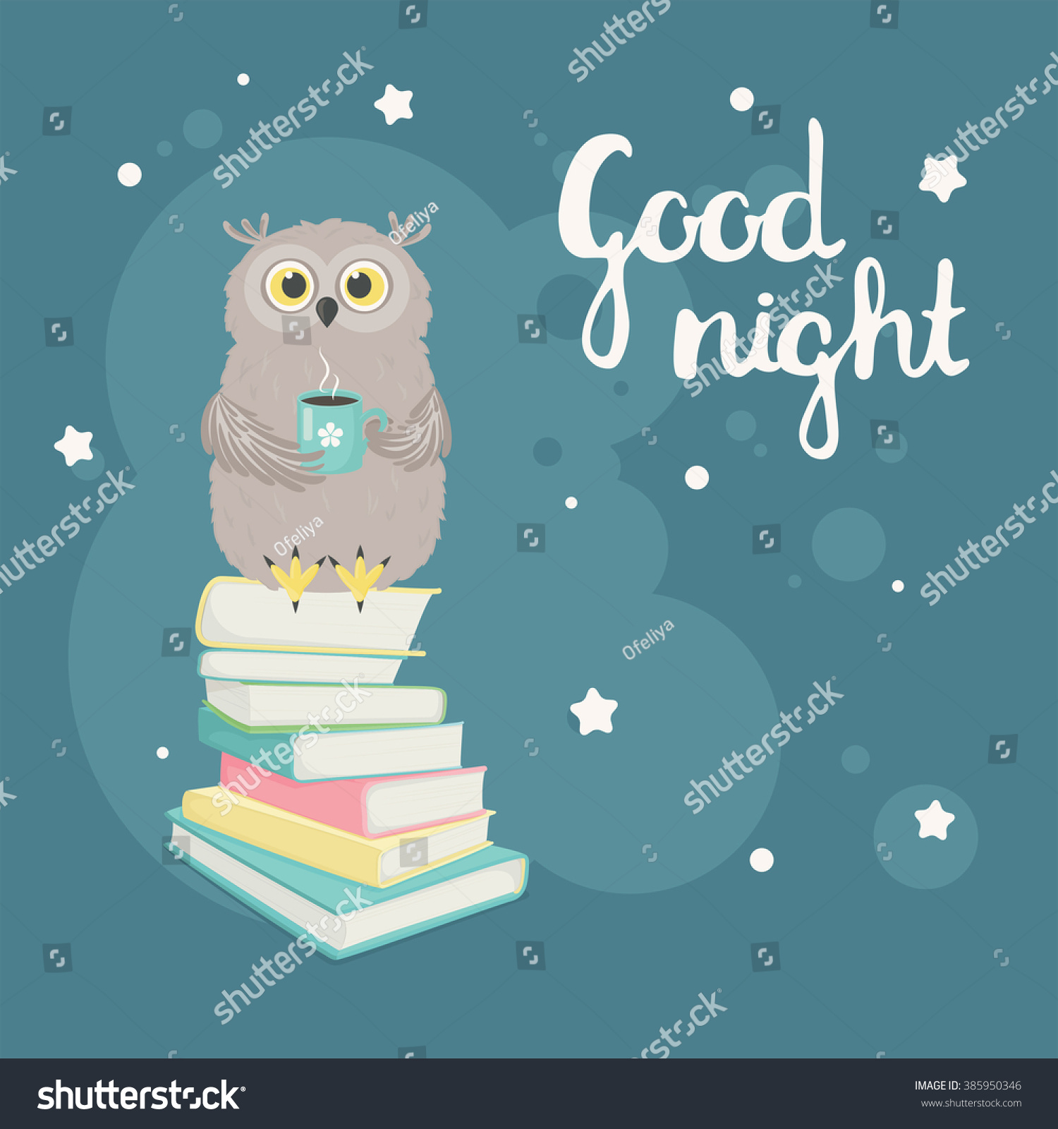 Good Night Greeting Card Owl Cup Stock Vector Royalty Free