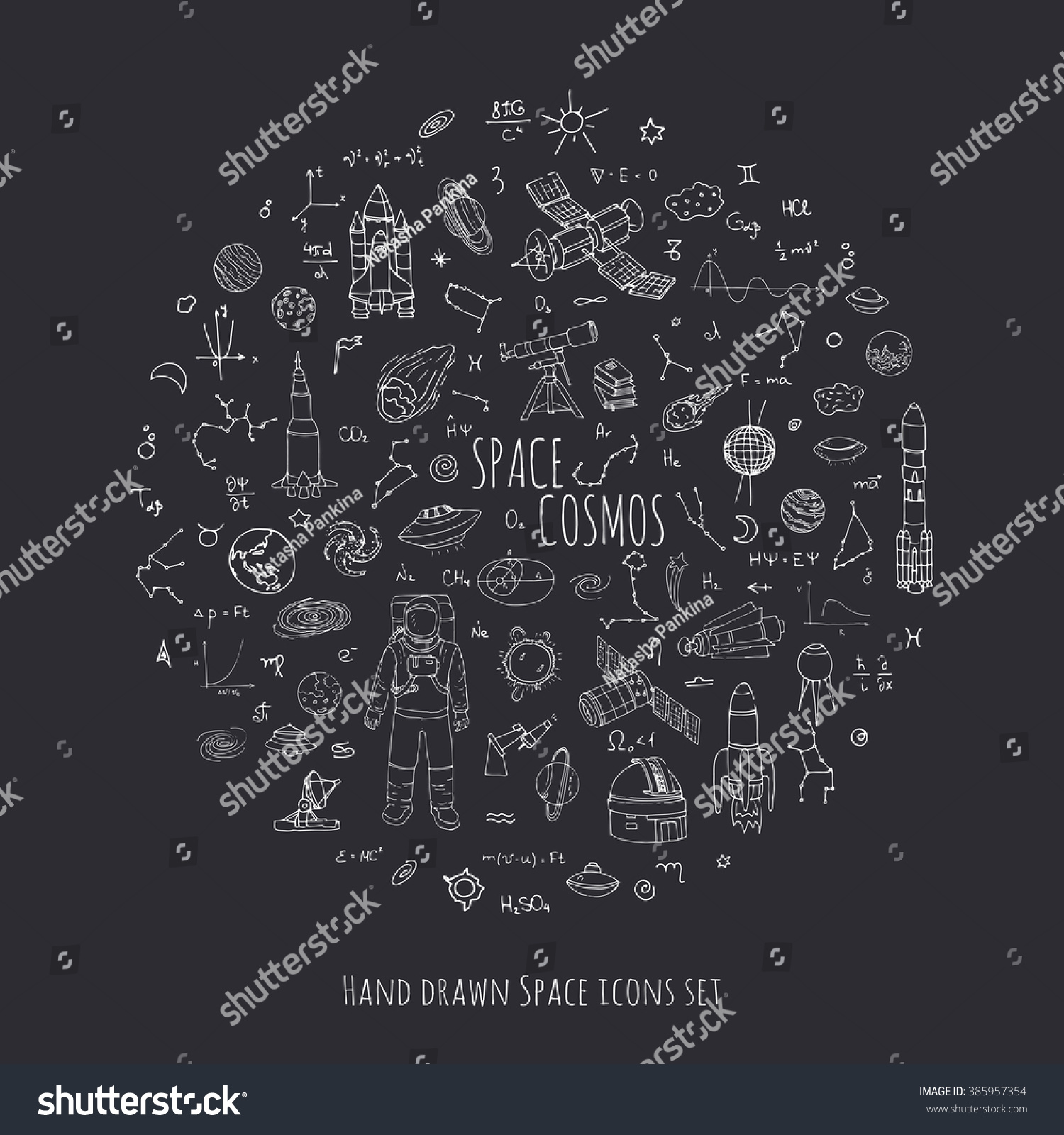 Hand drawn doodle Space and Cosmos set Vector illustration Universe icons Space elements Rocket Space ship symbols collection Solar system Planets Galaxy Milky Way Astronaut Tech freehand icon