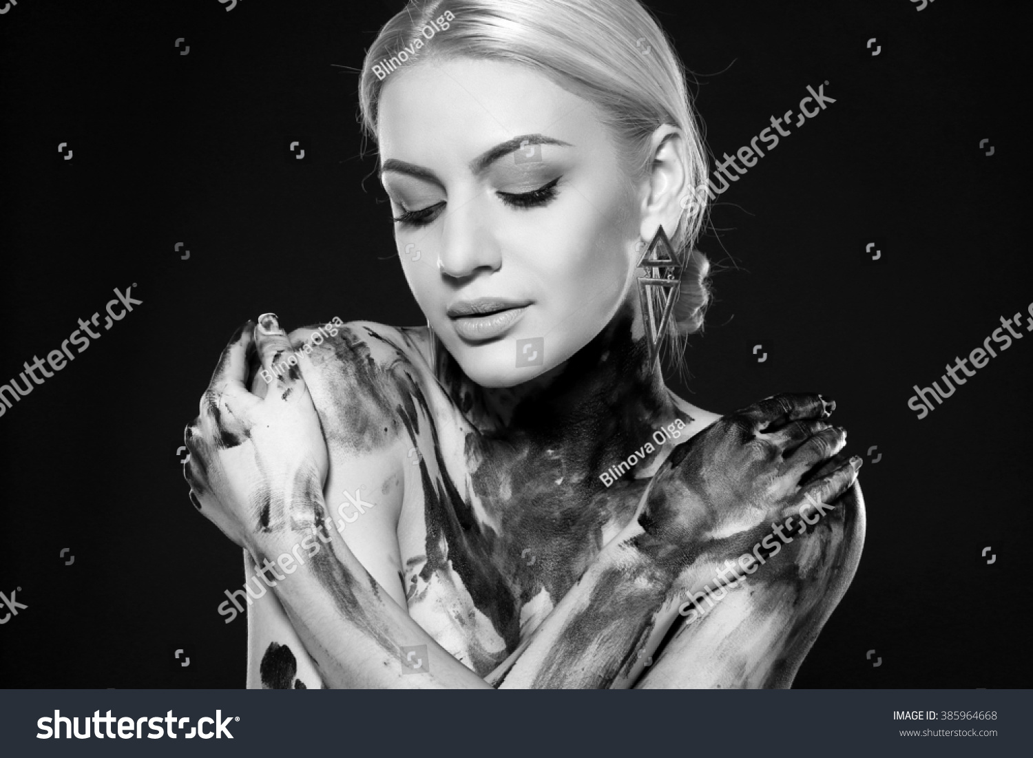 Woman Covered In Oil