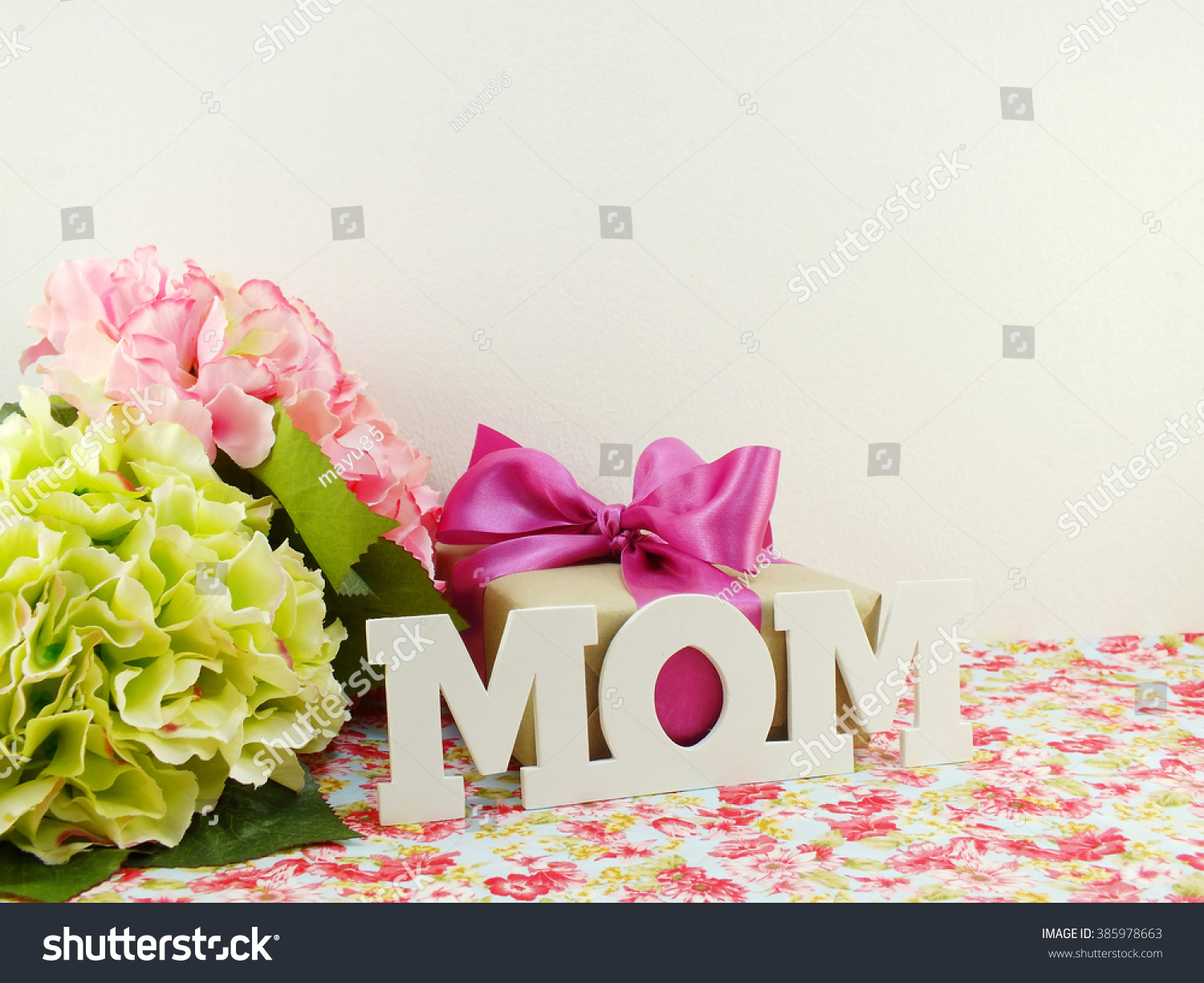Gifts beautiful bouquet flowers mom mother stock photo edit now gifts and beautiful bouquet of flowers for mom for mother day or birthday izmirmasajfo