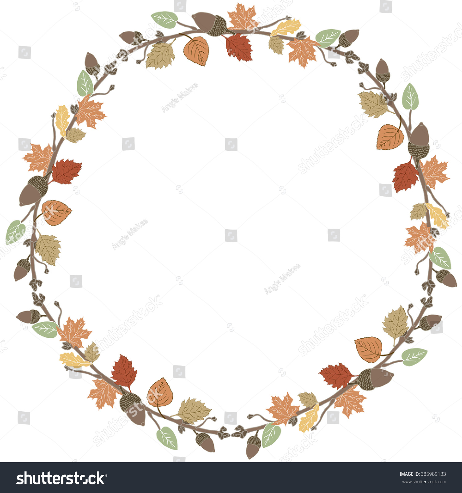 Cute Fall Wreath Autumn Leaves Background Stock Illustration 385989133