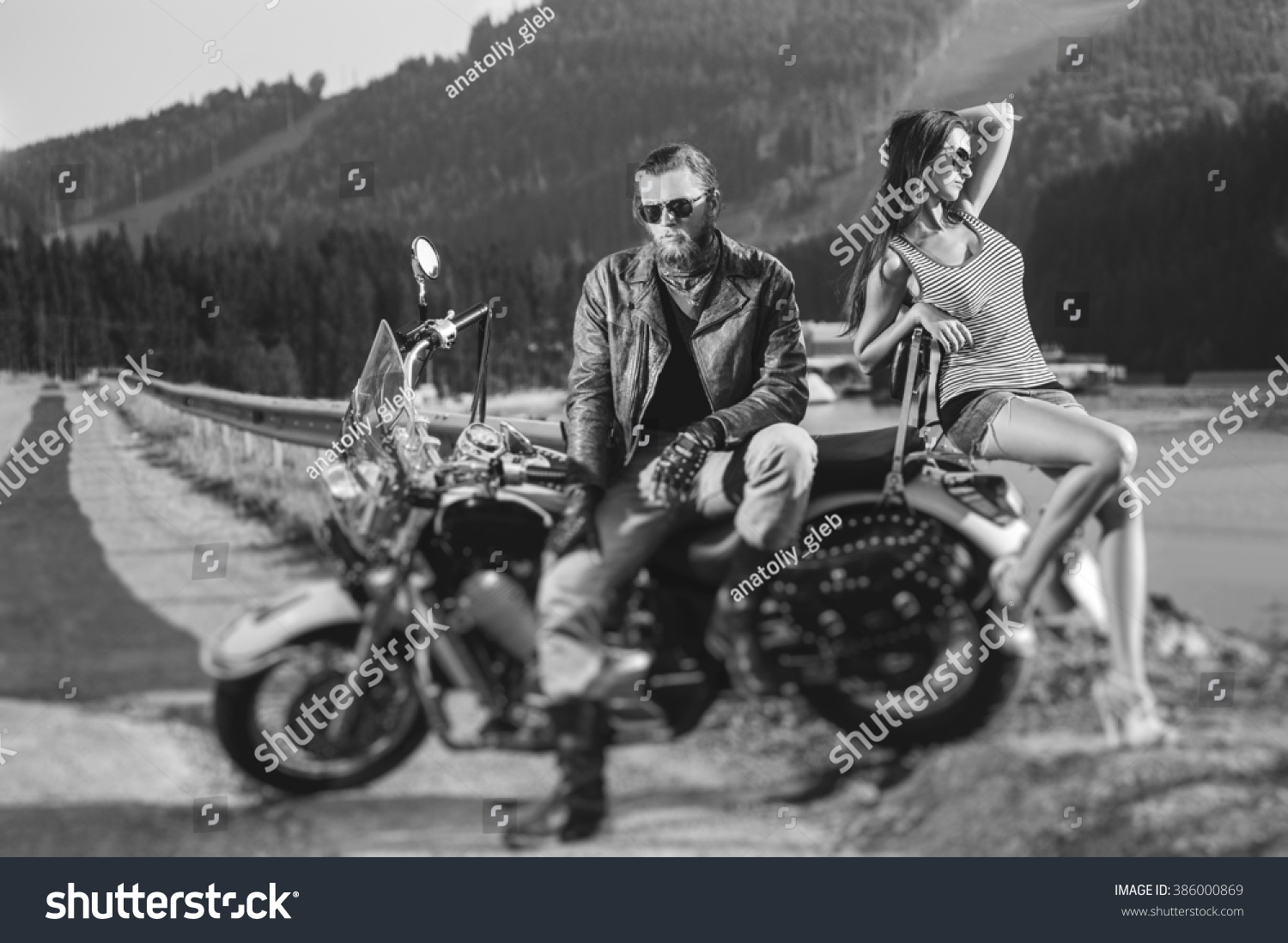 Motorcycle gloves victoria bc - Couple Sitting On A Motorbike Handsome Man Wearing Leather Jacket Gloves And Boots And