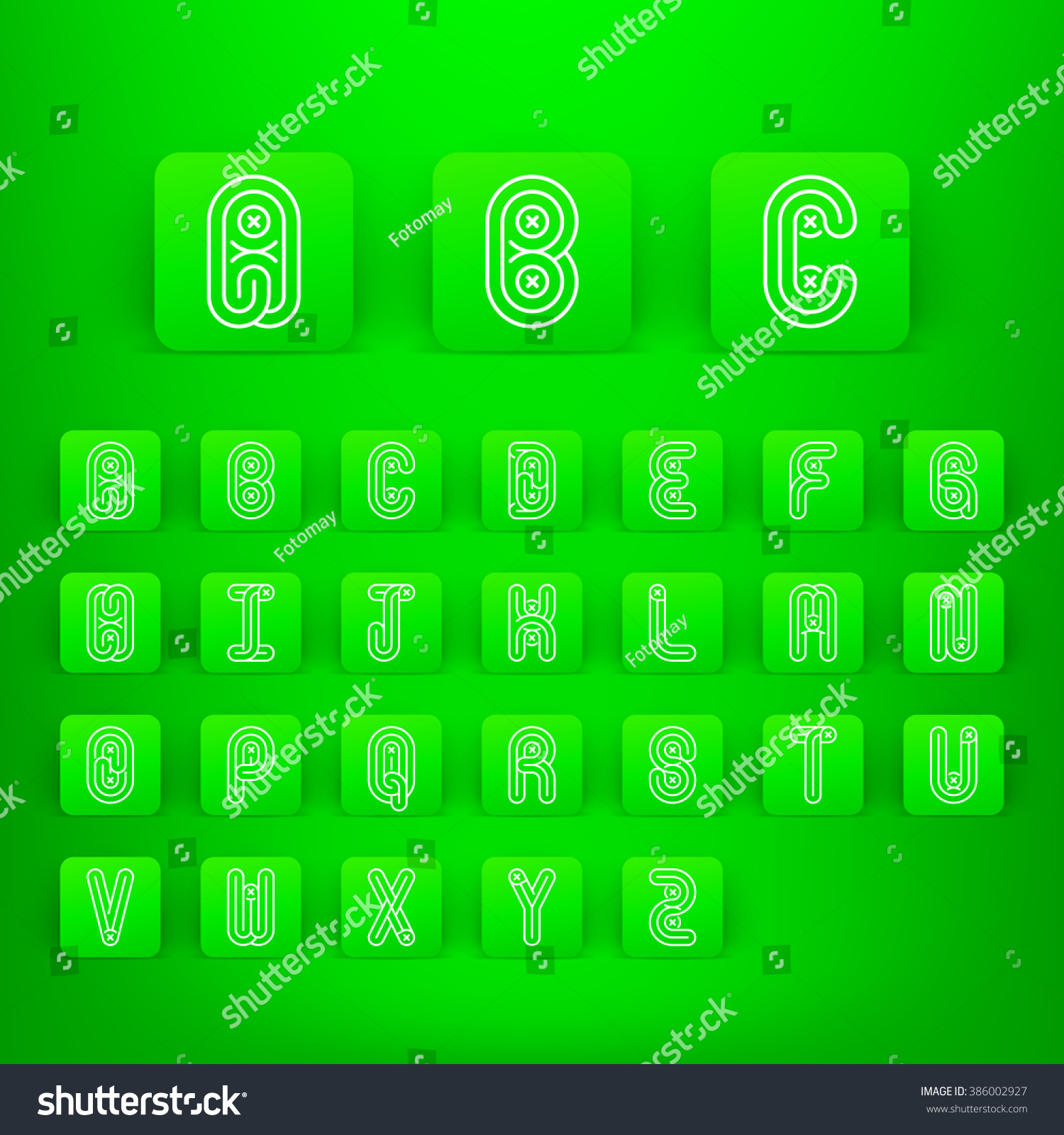 Mono Lines Style Alphabetic Fonts Capital Stock Vector