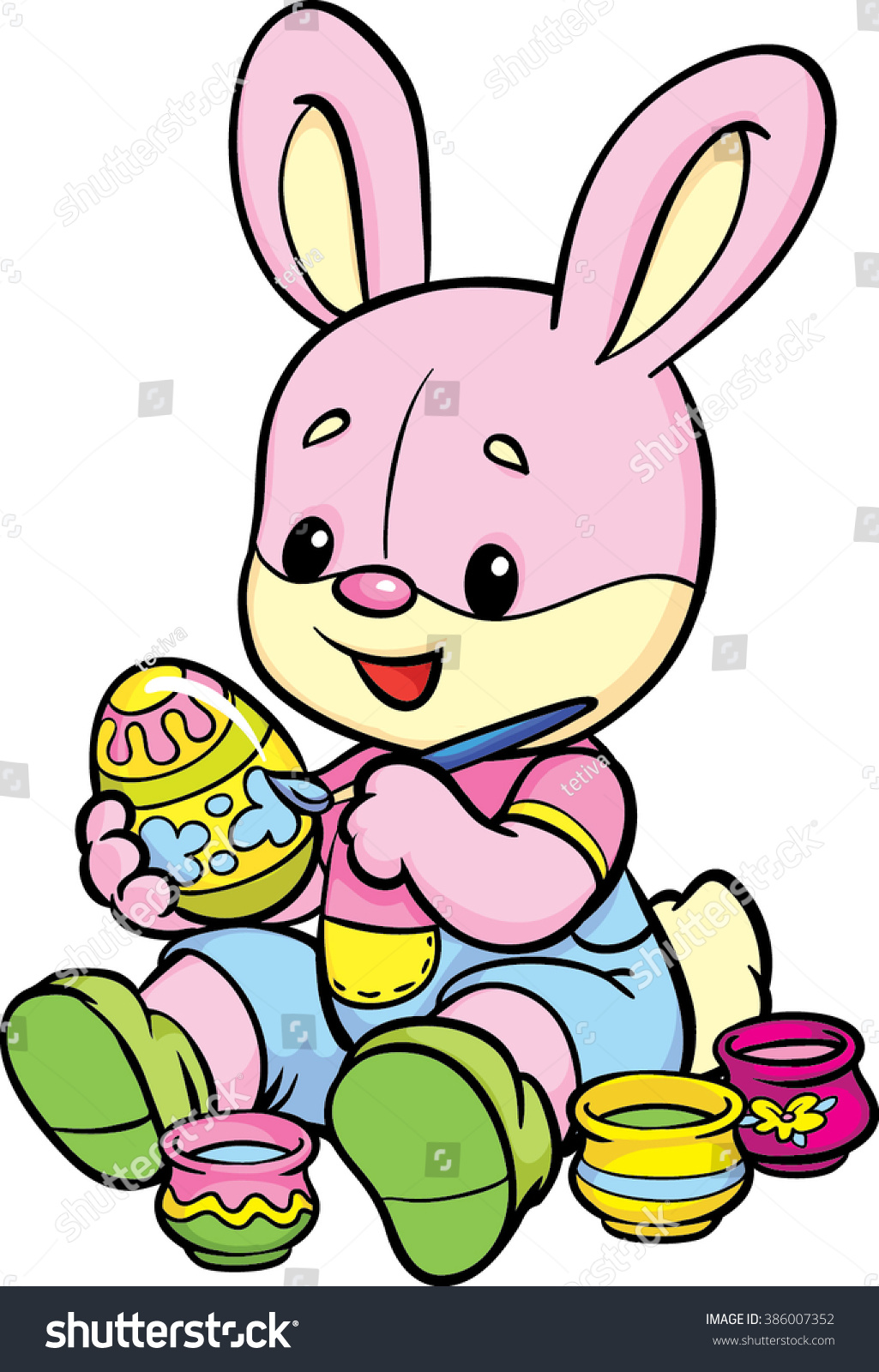 easter bunny bunny paints easter egg stock vector 386007352
