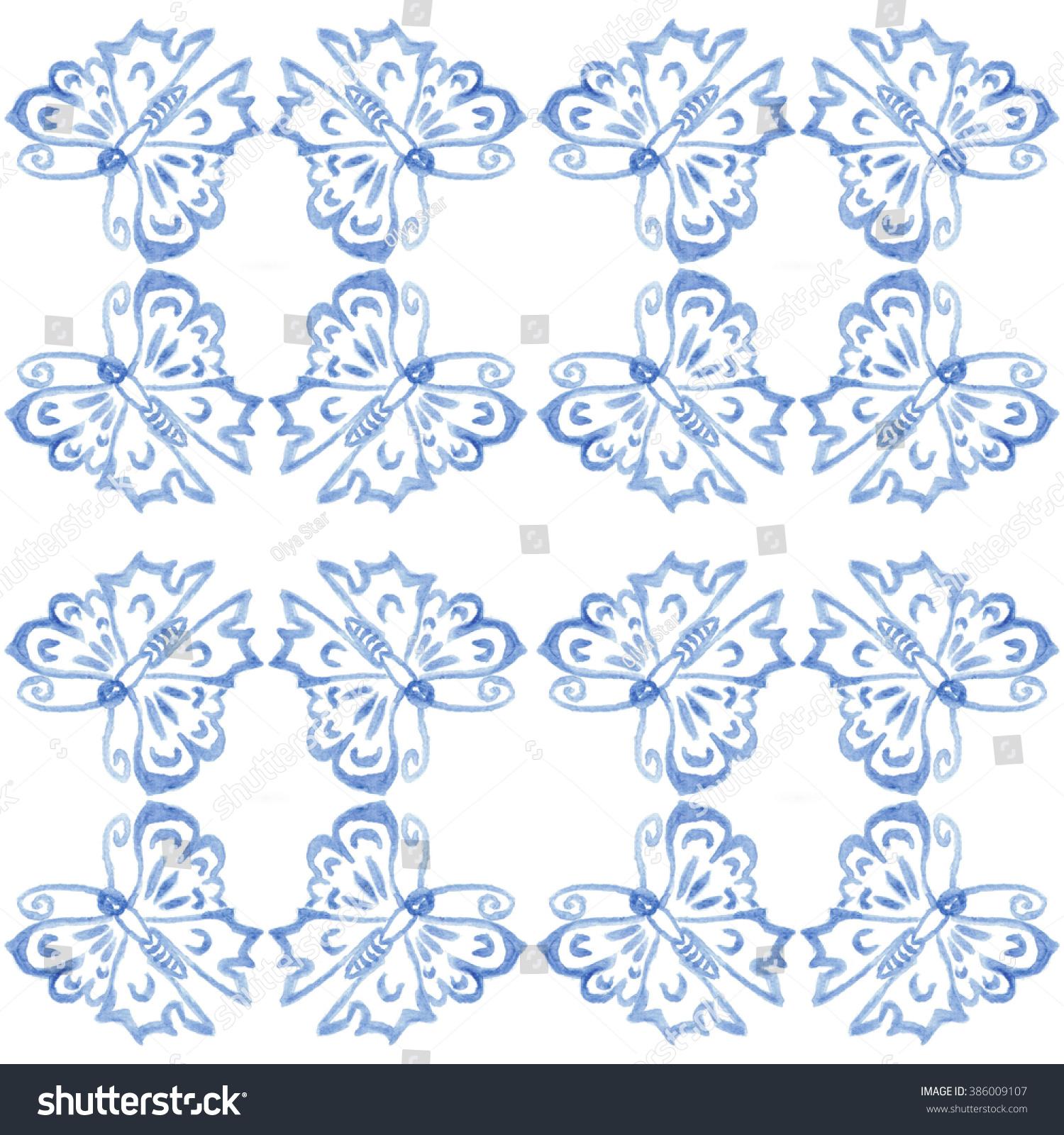 blue butterfly on white background tile stock illustration 386009107