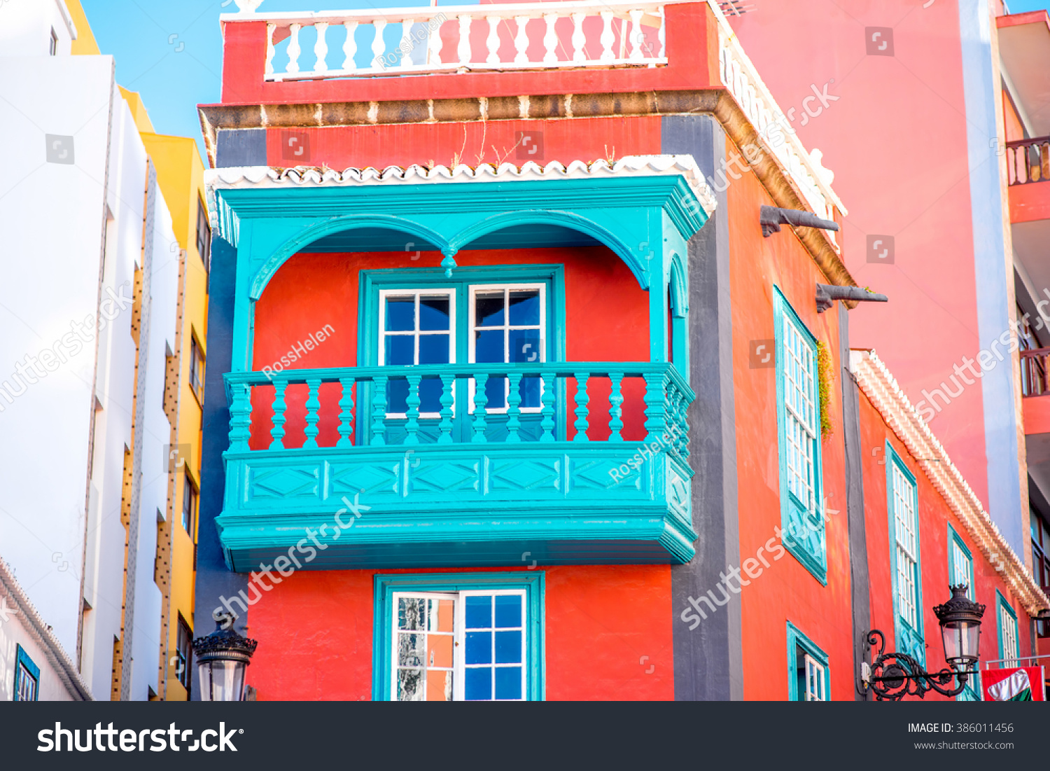 colorful house with beautiful balcony in santa cruz de la palma old town on la palma