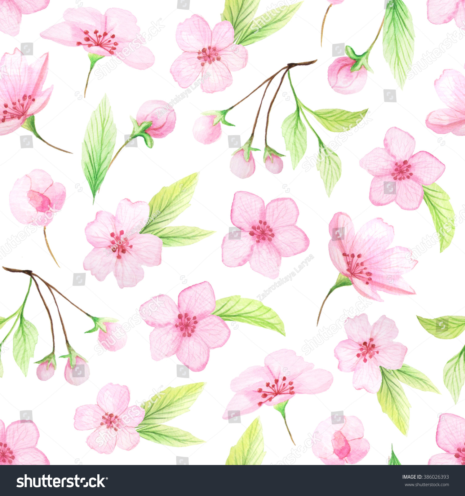 Seamless Pattern Hand Painted Watercolor Cherry Stock Illustration ...