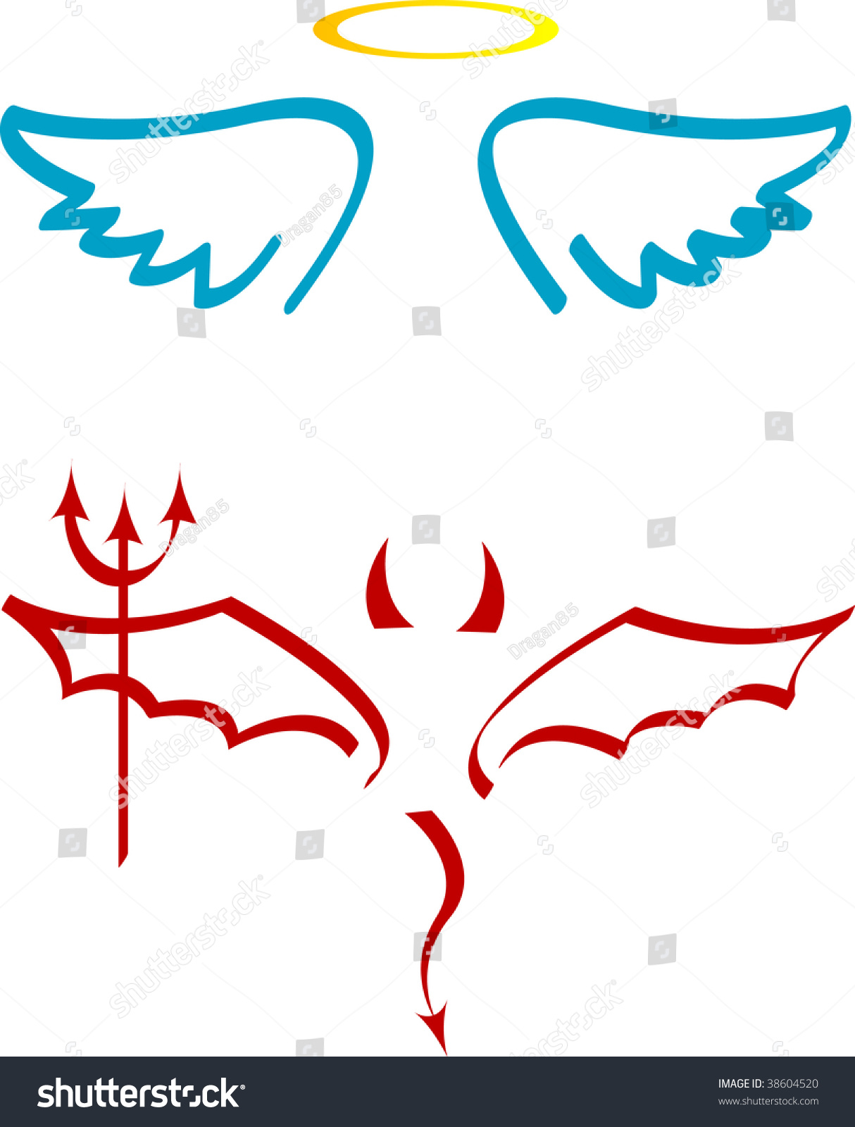 Angel Devil Attributes Stock Vector 38604520 - Shutterstock