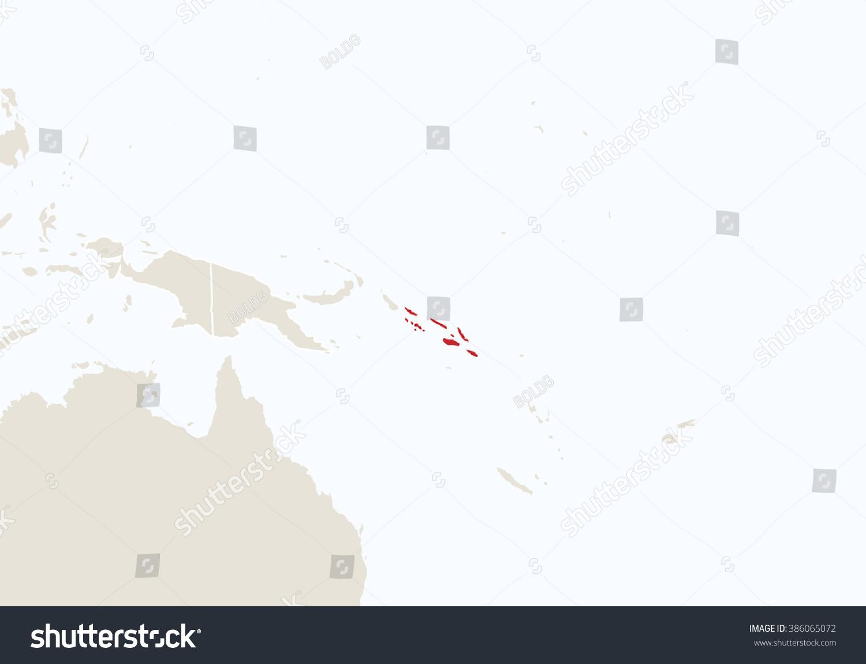 Oceania Highlighted Solomon Islands Map Raster Stock Illustration
