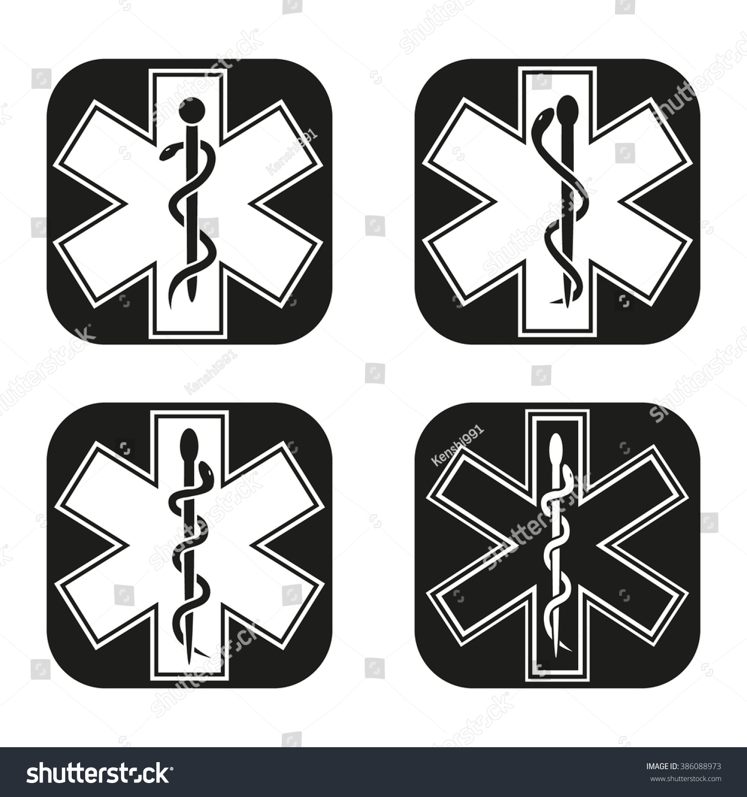 Medical Emergency Symbol Four Variations Stock Photo Photo Vector