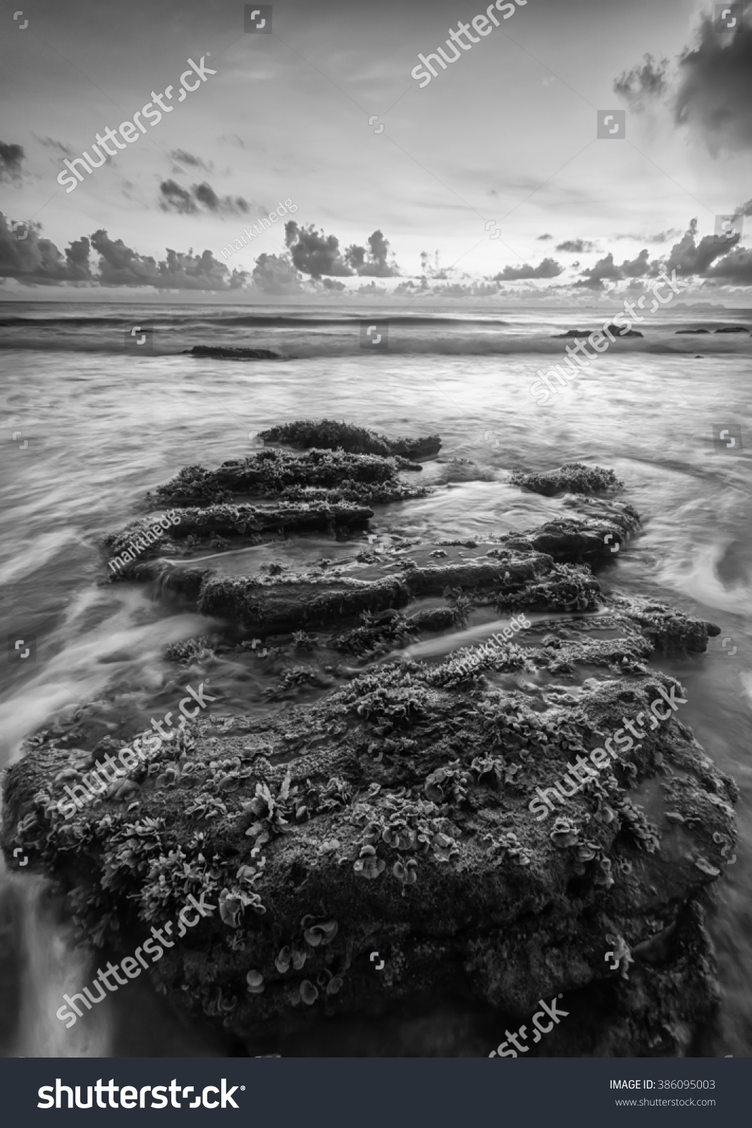 Beautiful scenery in rocky in black and white area taken with slow shutter soft focus