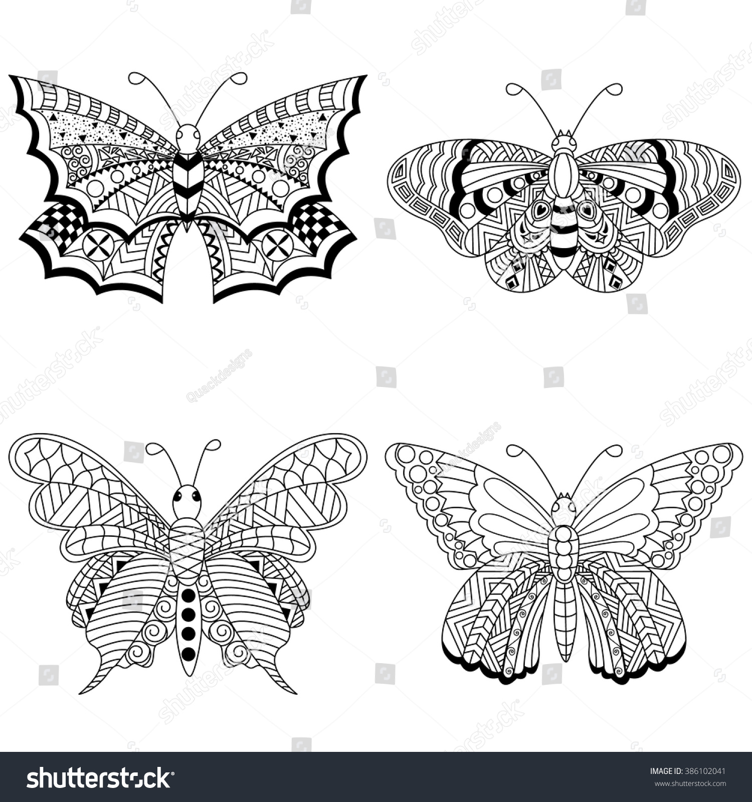 set 4 butterfly coloring page exquisite stock vector 386102041