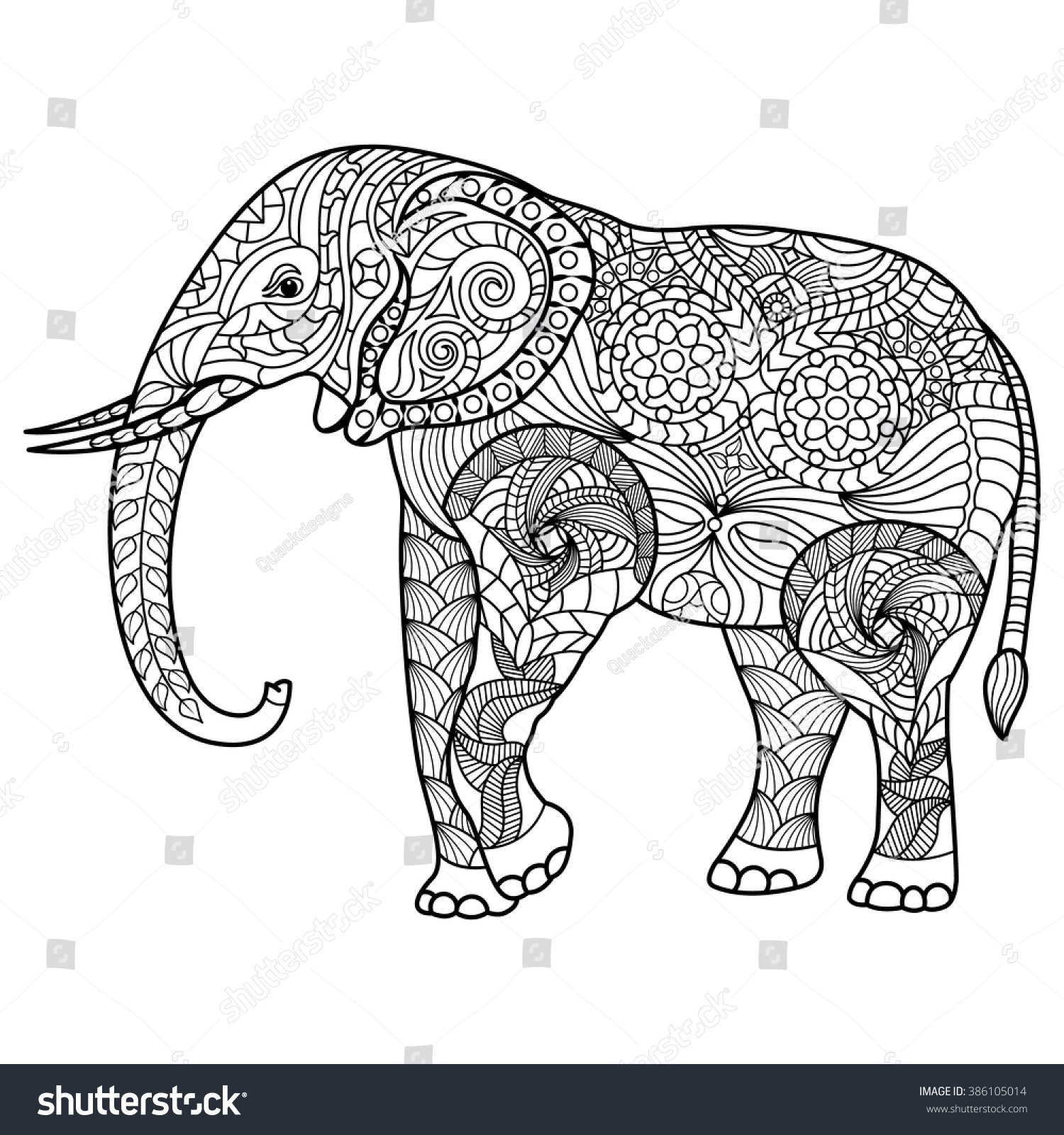 Elephant Coloring Page Graceful And Exquisite Style 386105014