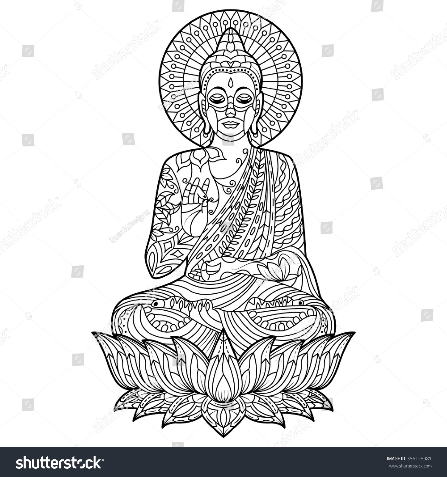 buddha coloring pages Gautam Buddha Coloring Page Position Meditation Stock Vector  buddha coloring pages
