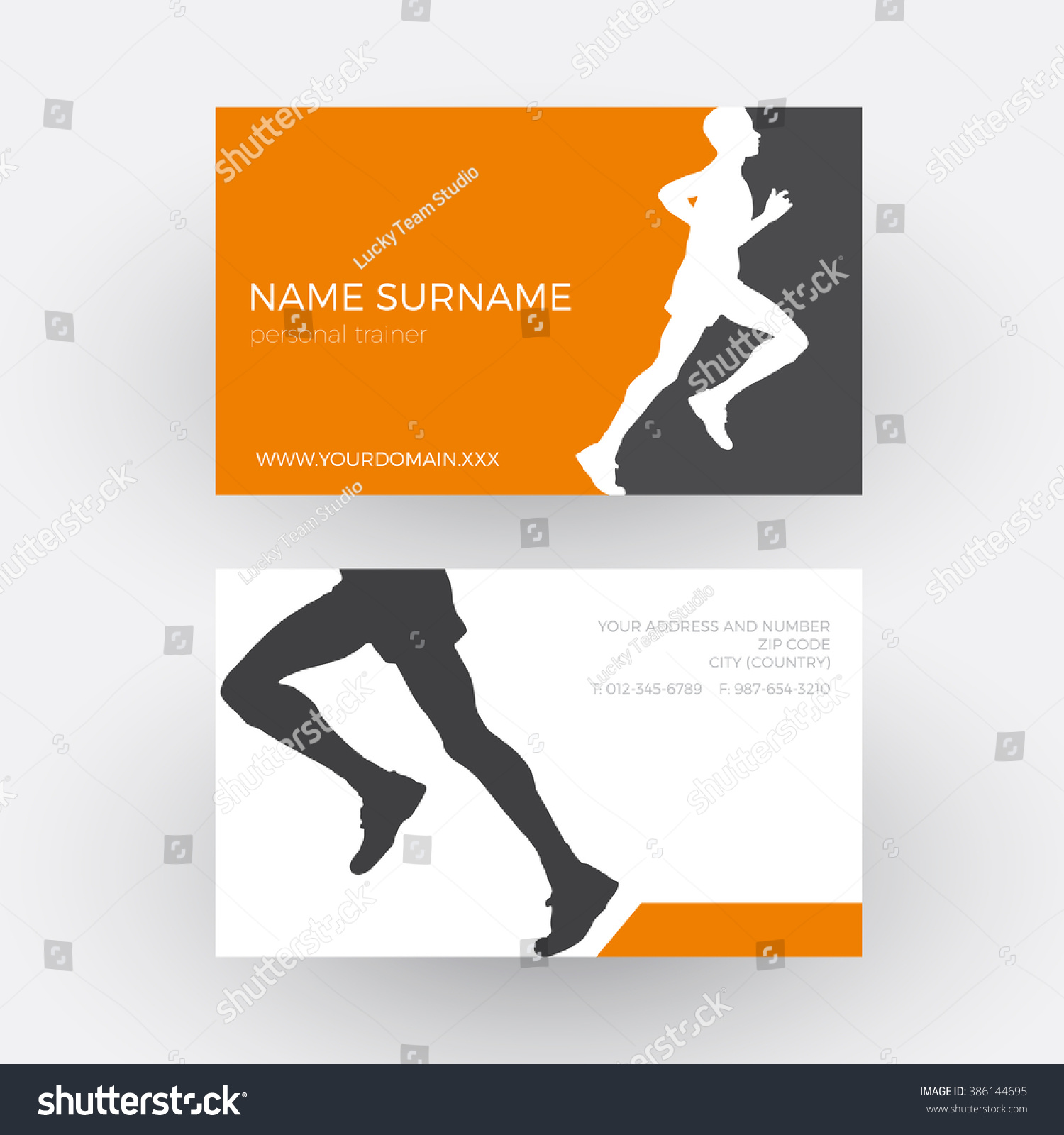 vector abstract runner personal trainer business stock vector