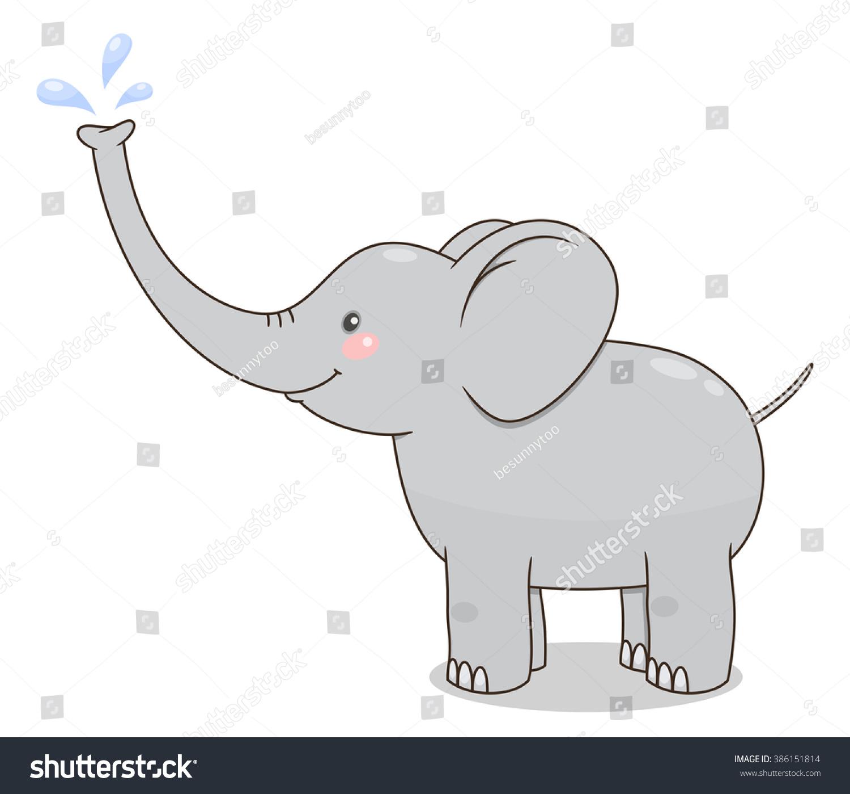cute cartoon baby elephant spraying water stock vector 386151814