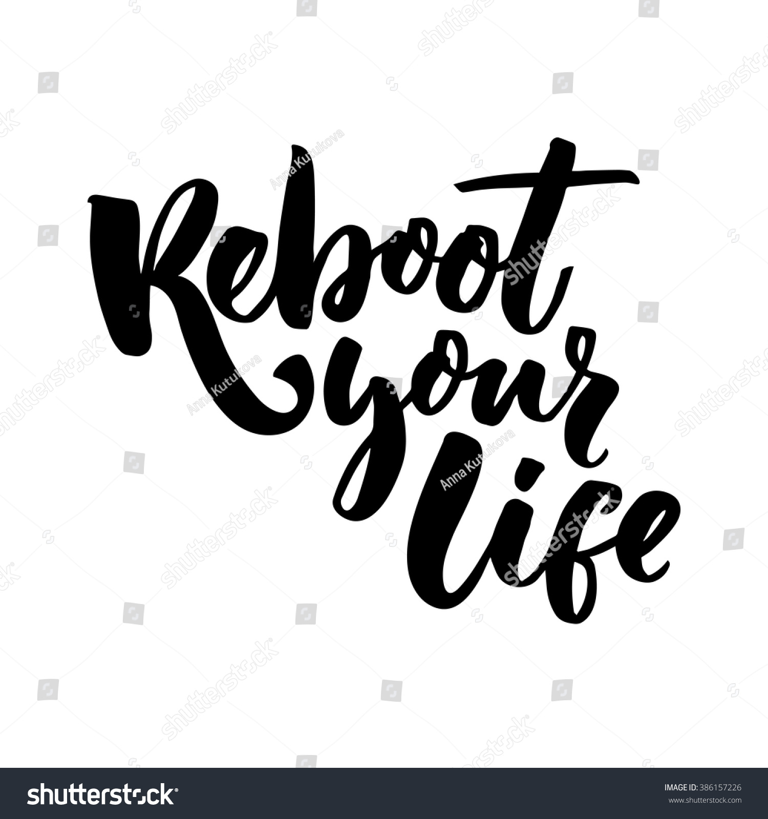 Life Inspirational Quotes Reboot Your Life Inspirational Quote Motivational Stock Vector