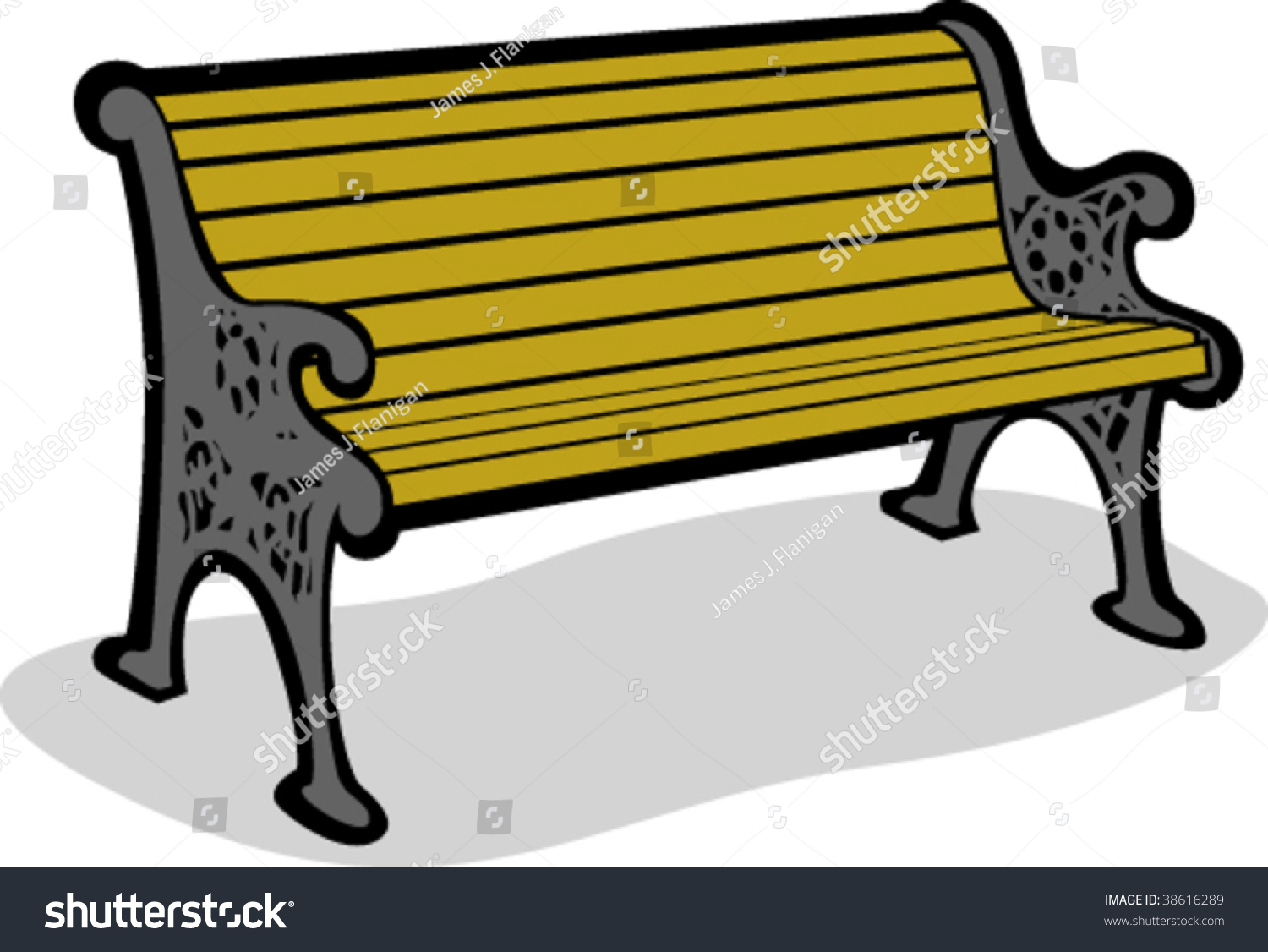 Vector Illustration Park Bench Stock Vector Royalty Free 38616289