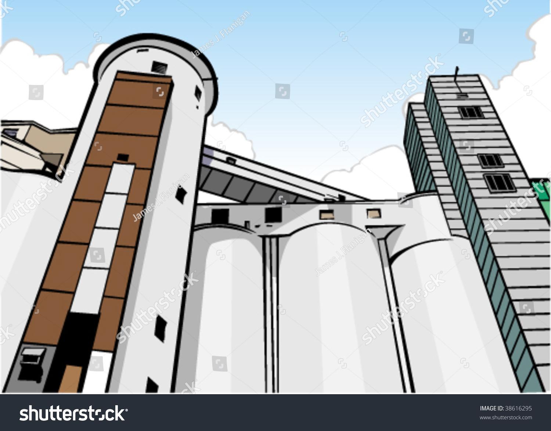Vector Illustration Of Grain Elevator. - 38616295 : Shutterstock