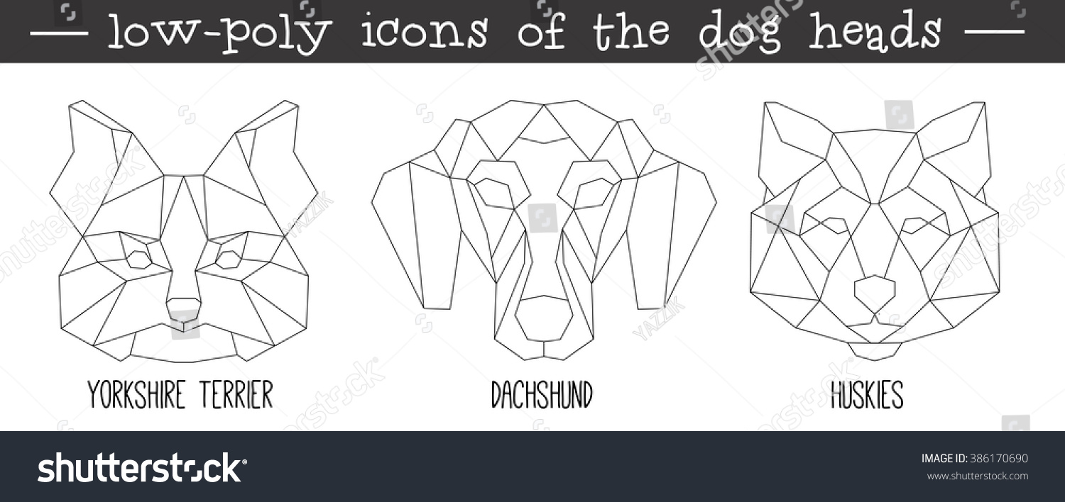 Tiger head triangular icon geometric trendy stock vector image - Front View Of Dog Head Triangular Icon Set Geometric Trendy Line Design Vector Illustration