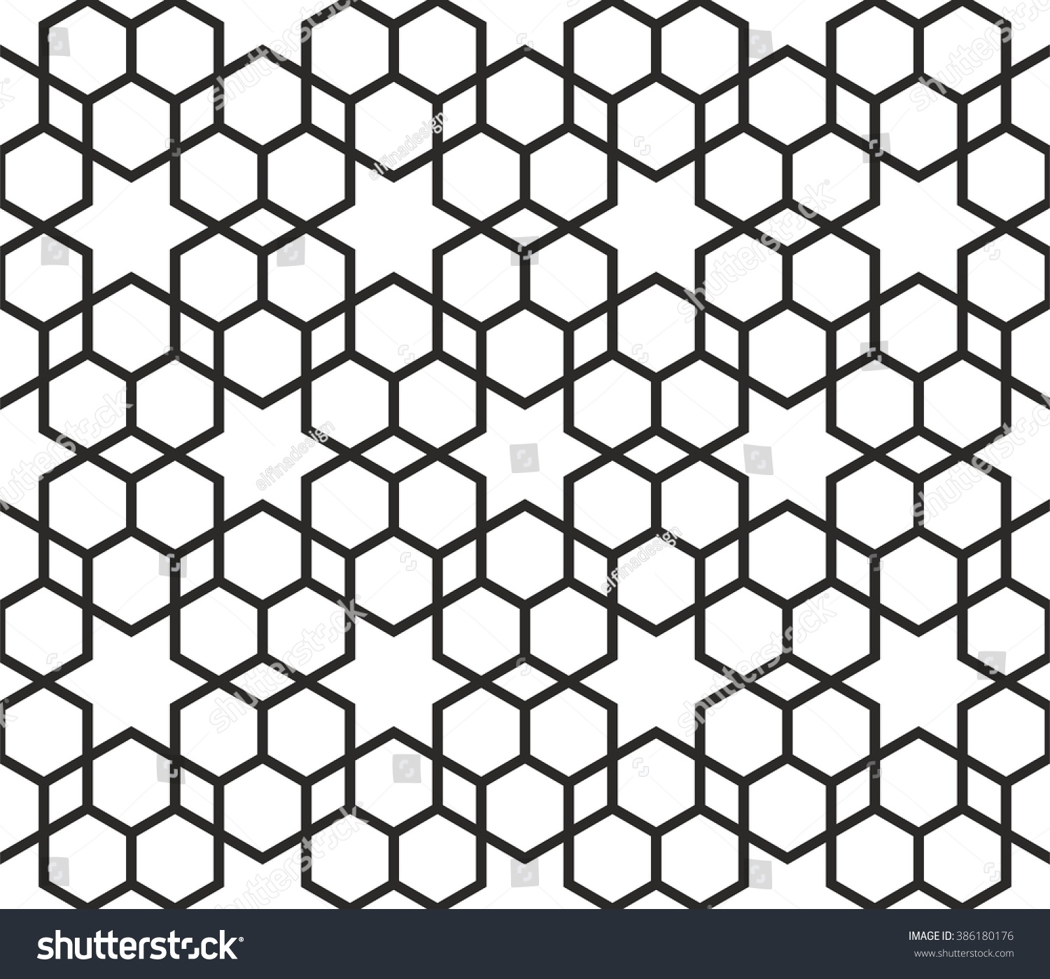 Arabic Star Texture, Monochrome Islamic Pattern, Hexagons Background
