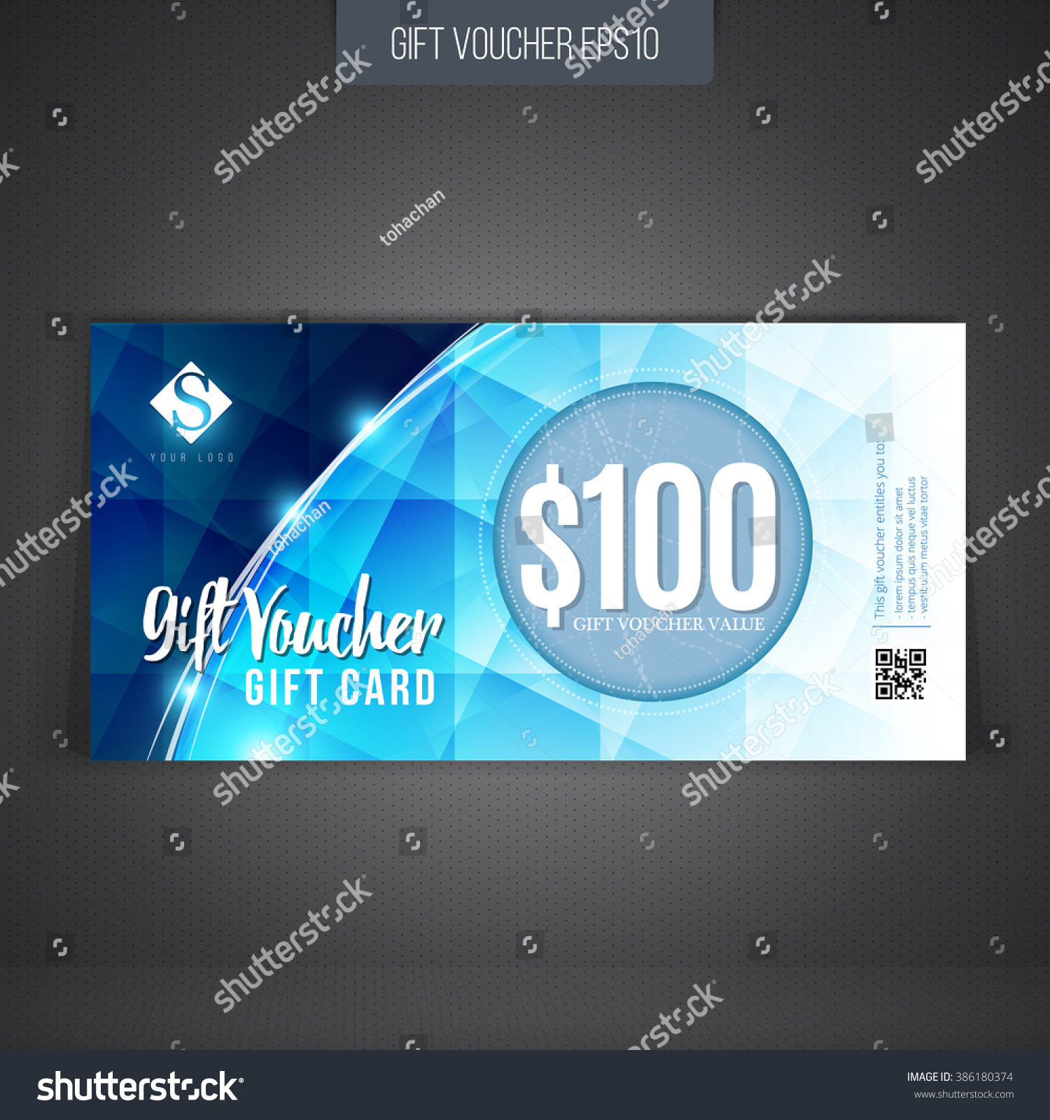Gift Coupon Gift Card Discount Card Stock Vector 386180374 ...