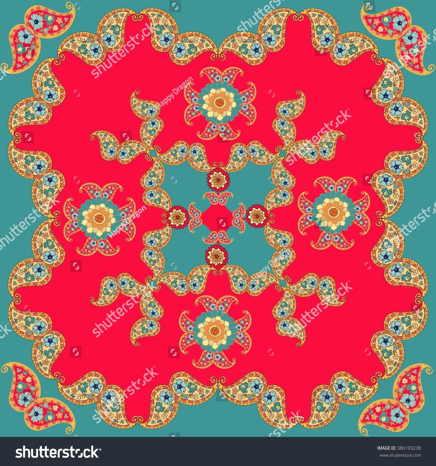 ethnic bandana print template pillowcase cushion stock illustration