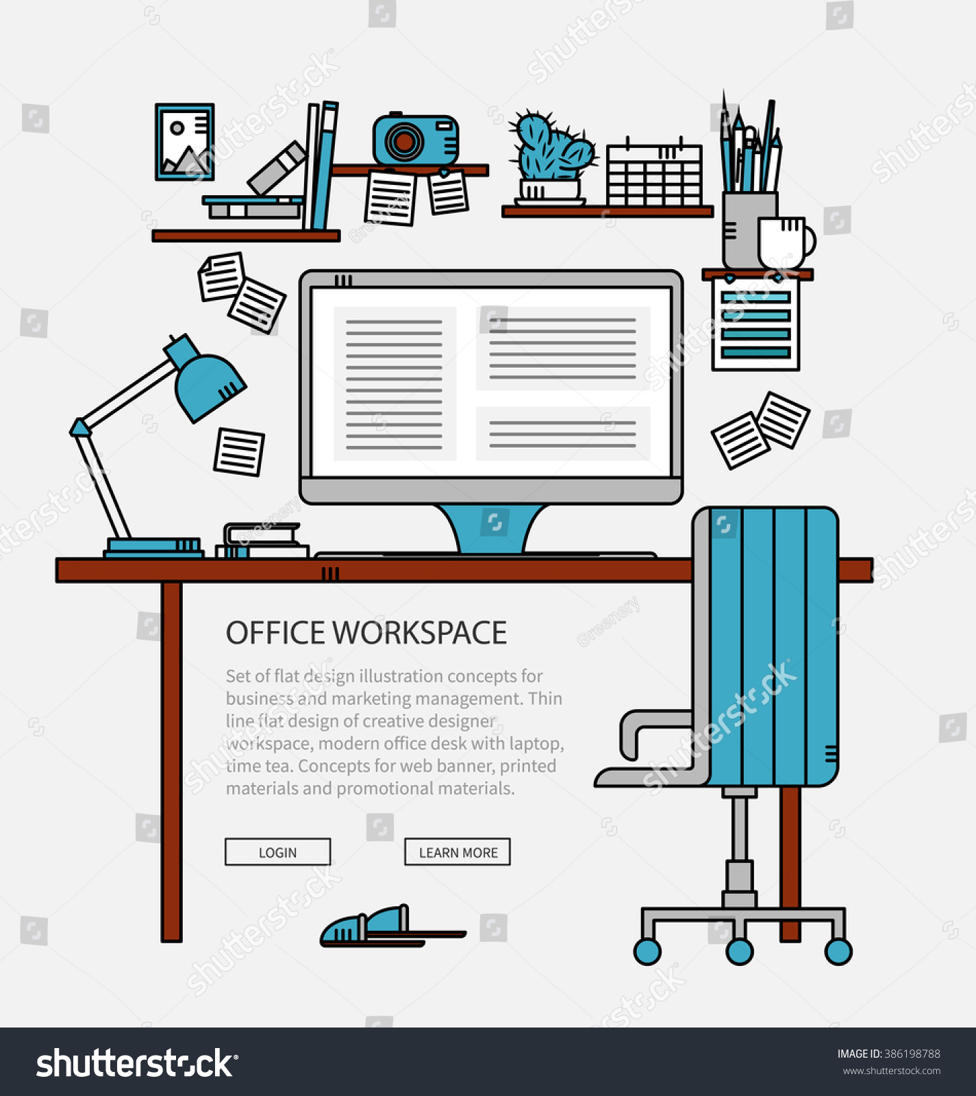 Linear Flat Design Modern Designer Workspace Stock Vector