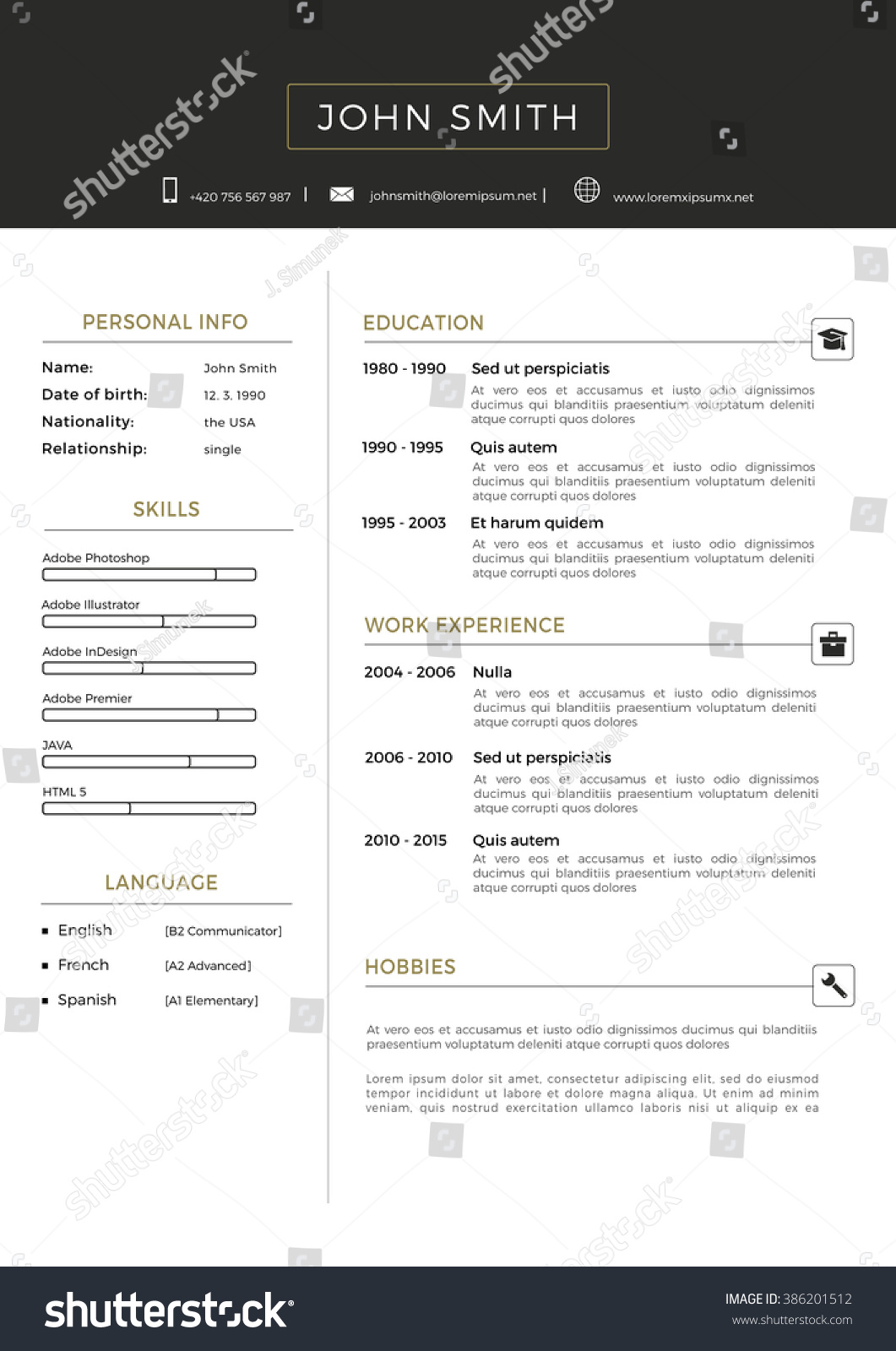 luxury personal vector resume cv template stock vector 386201512