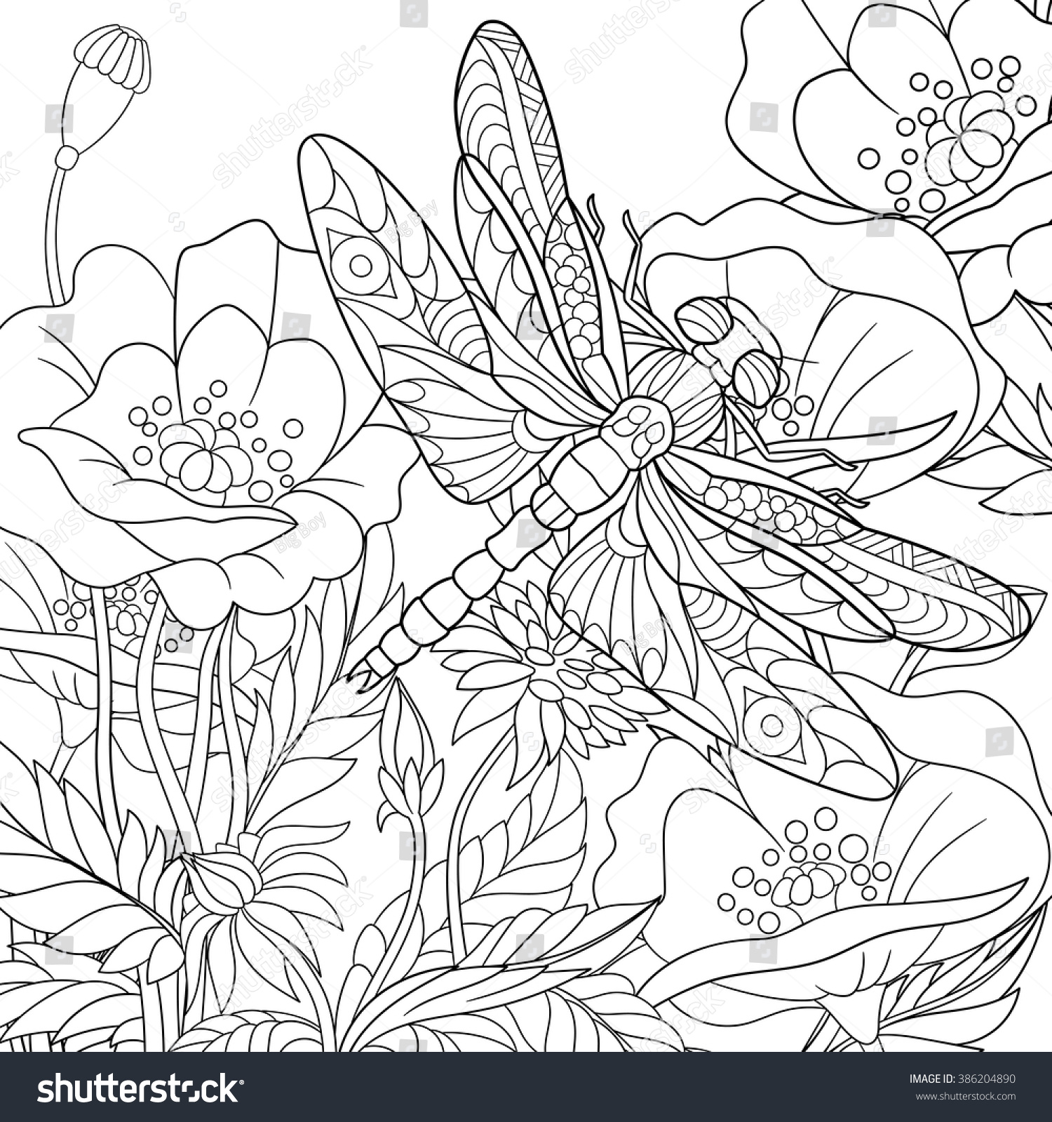 Zentangle Stylized Cartoon Dragonfly Insect Flying Stock Vector ...