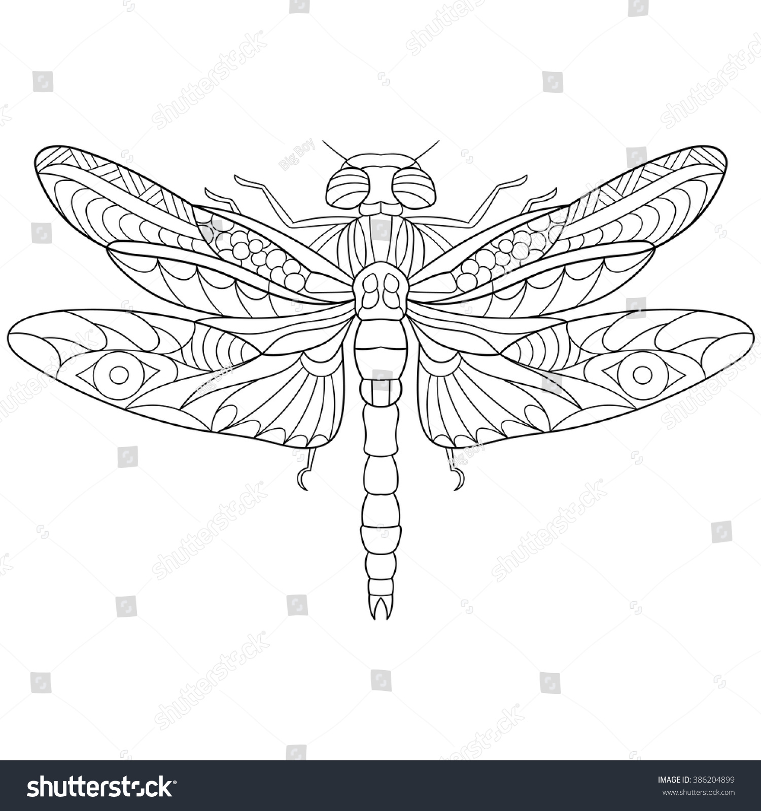 Coloring in dragonflies - Zentangle Stylized Cartoon Dragonfly Insect Isolated On White Background Sketch For Adult Antistress Coloring