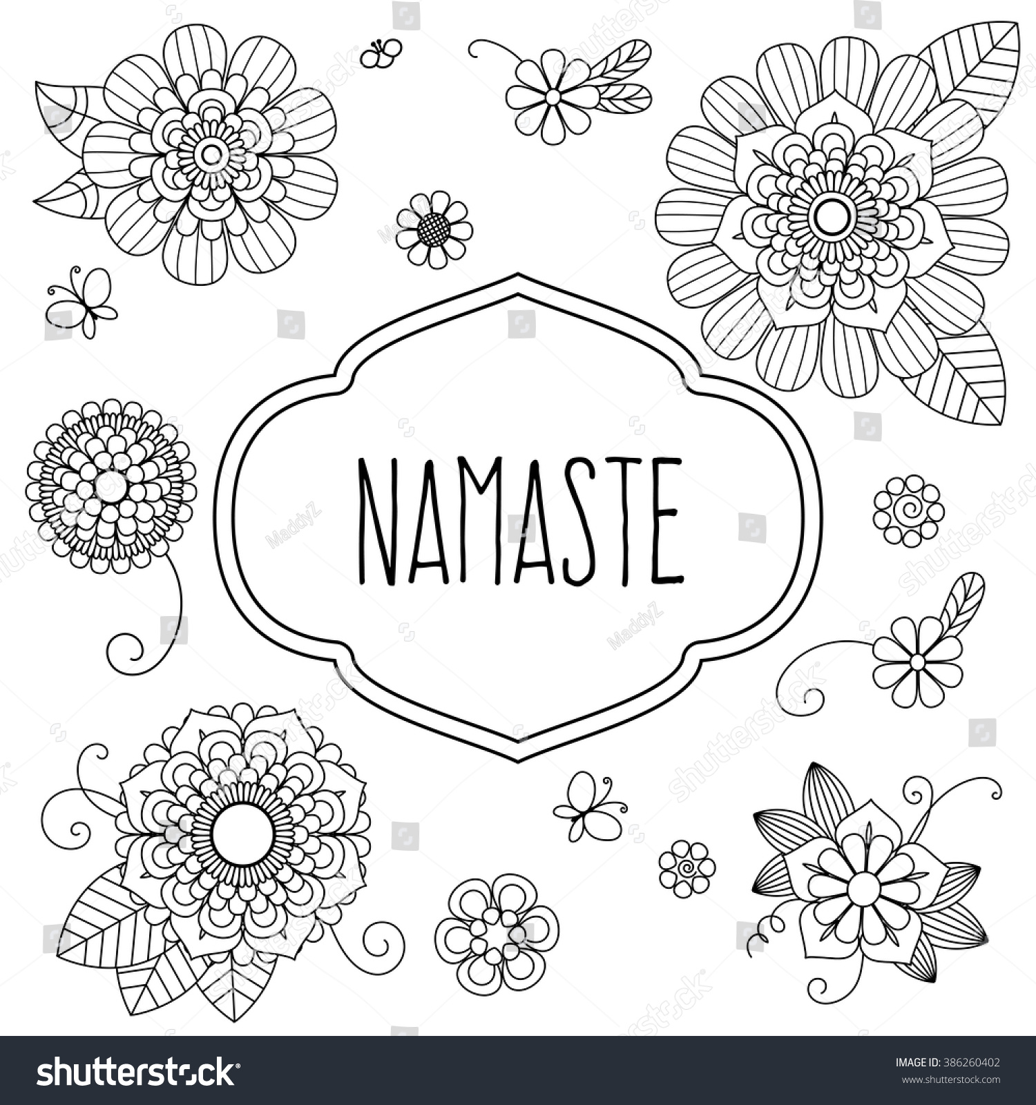 Indian welcome greeting namaste decorated doodle stock photo photo indian welcome greeting namaste decorated with doodle floral elements translation is hello m4hsunfo