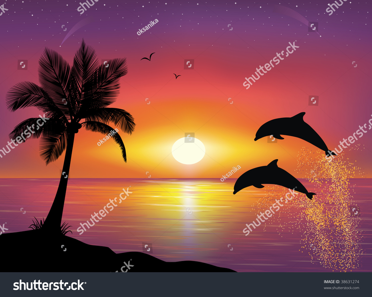 Silhouette Two Dolphins Jumping Out Water Stock Vector ...