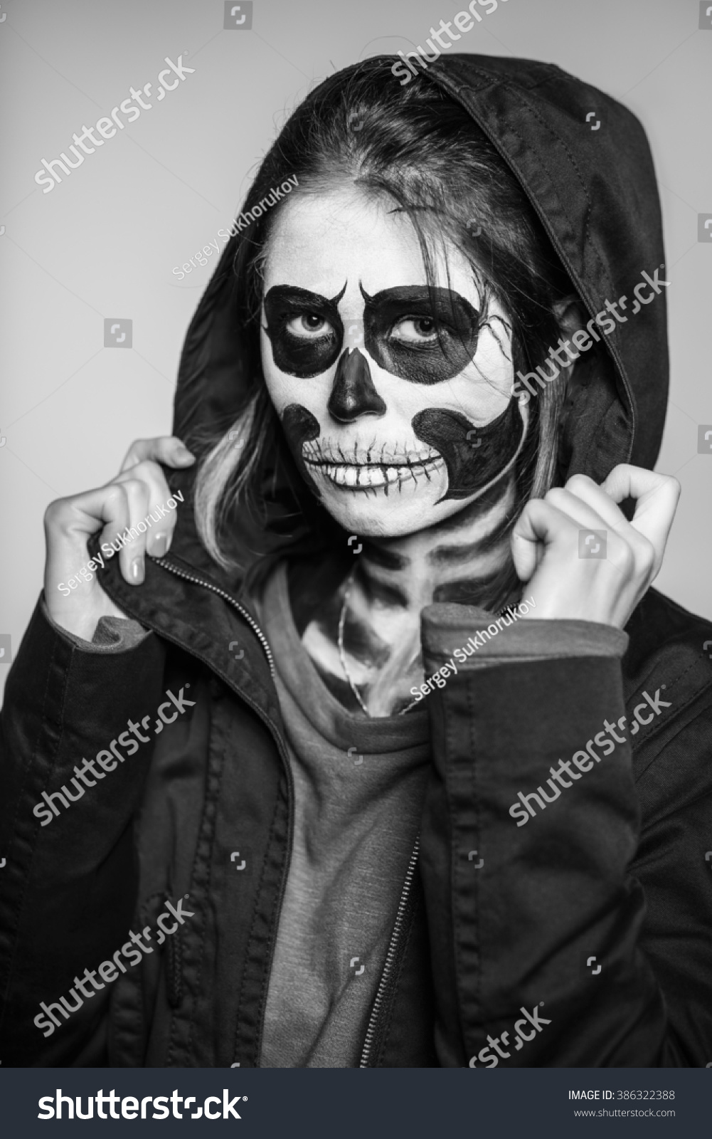 portrait young woman scary makeup halloween stock photo (edit now