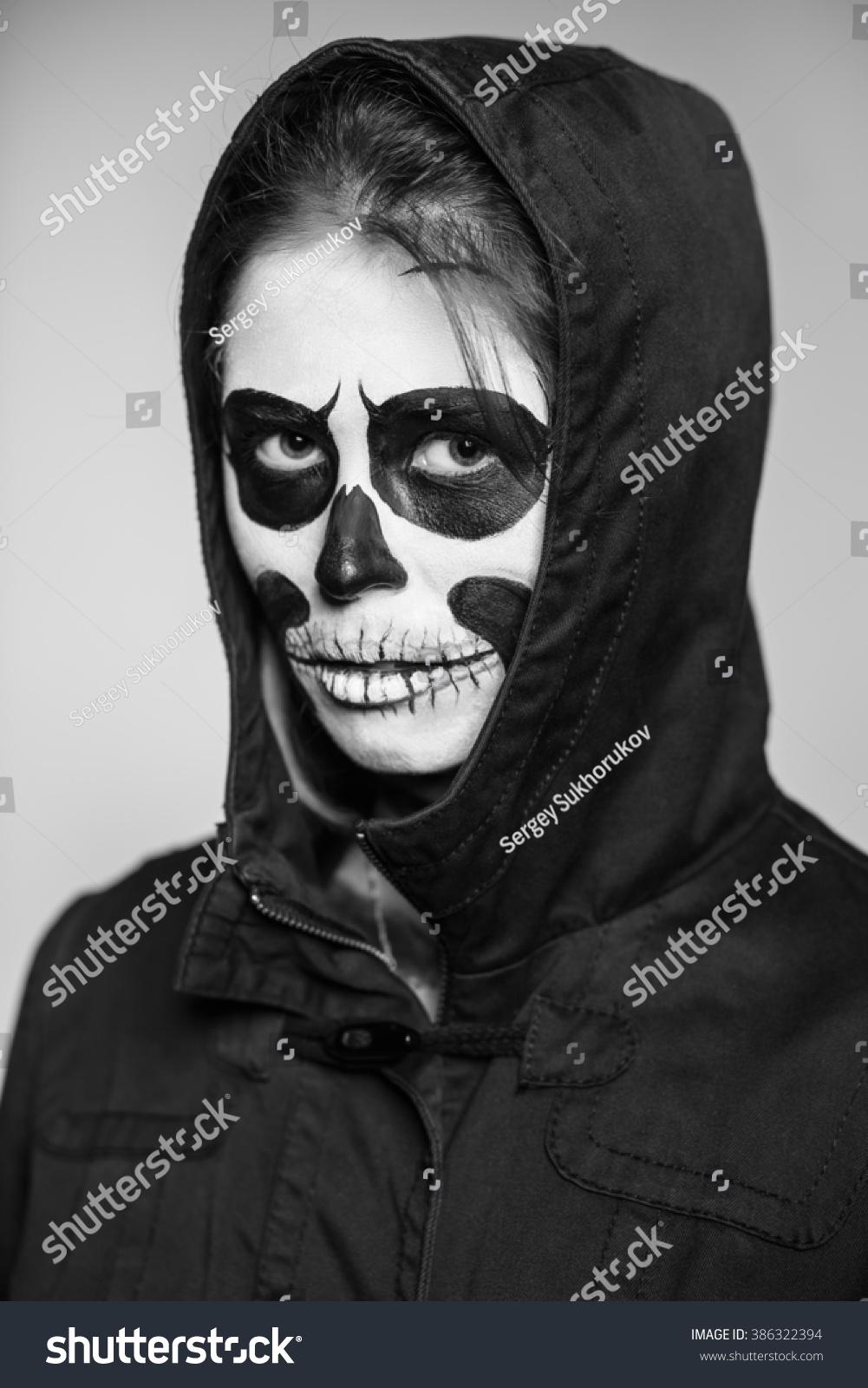 portrait woman scary makeup halloween monochrome stock photo (edit