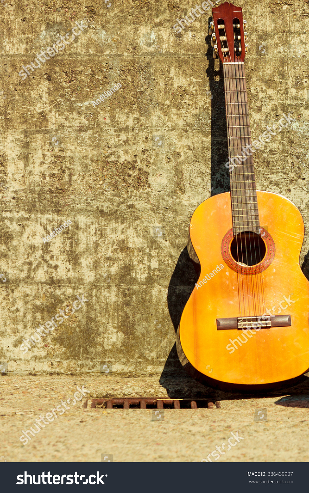 Music Concept Acoustic Guitar Outdoor On Stock Photo (Edit