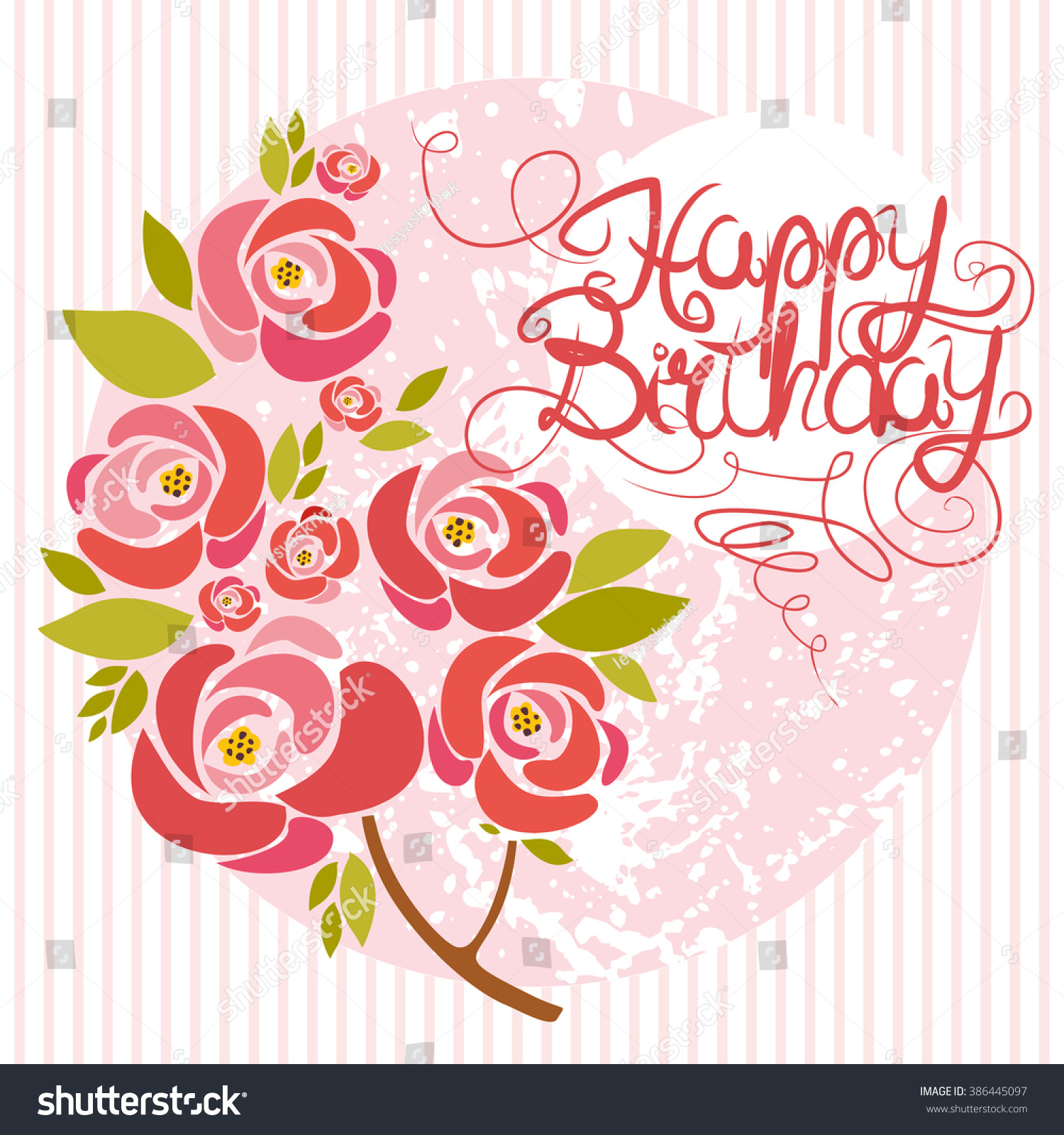 Vector card happy birthday bouquet roses stock vector royalty free vector card happy birthday bouquet of roses in pink izmirmasajfo