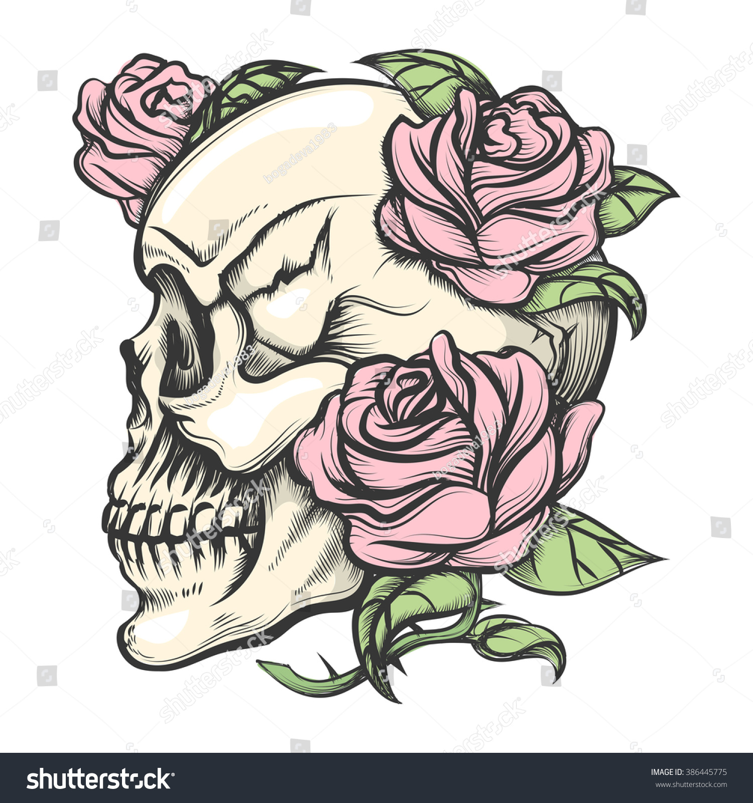 Human Skull Roses Drawn Tattoo Style Stock Vector Royalty Free Blank Body Diagram With In Isolated On White