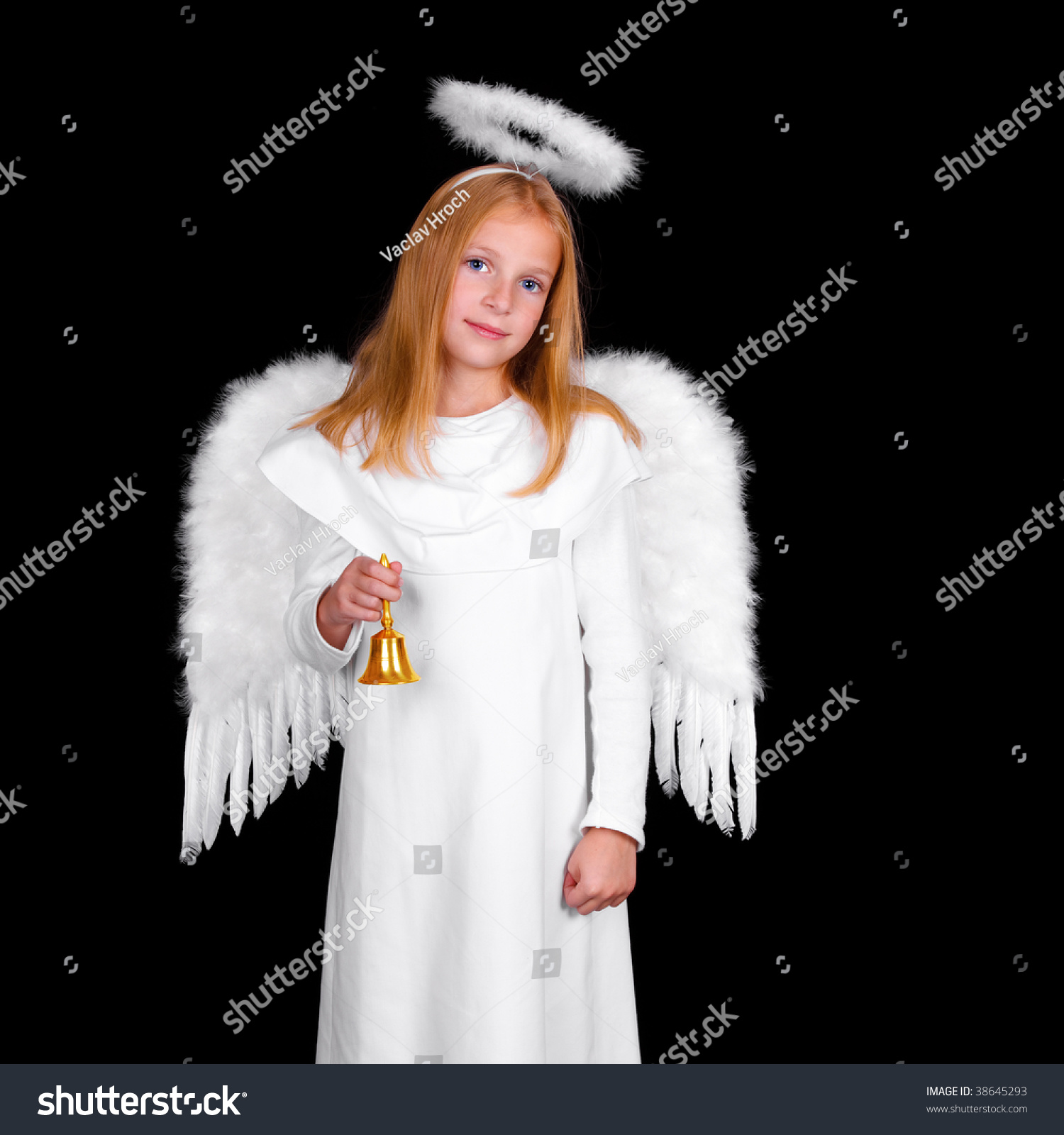 Young girl as christmas angel on black background | EZ Canvas