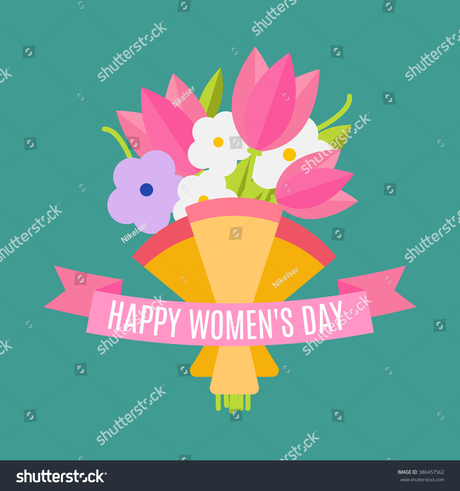 Happy women's day Beautiful wedding bouquet isolated on background in a flat style Wedding flat flowers congratulation card isolated Vector illustration EPS 10