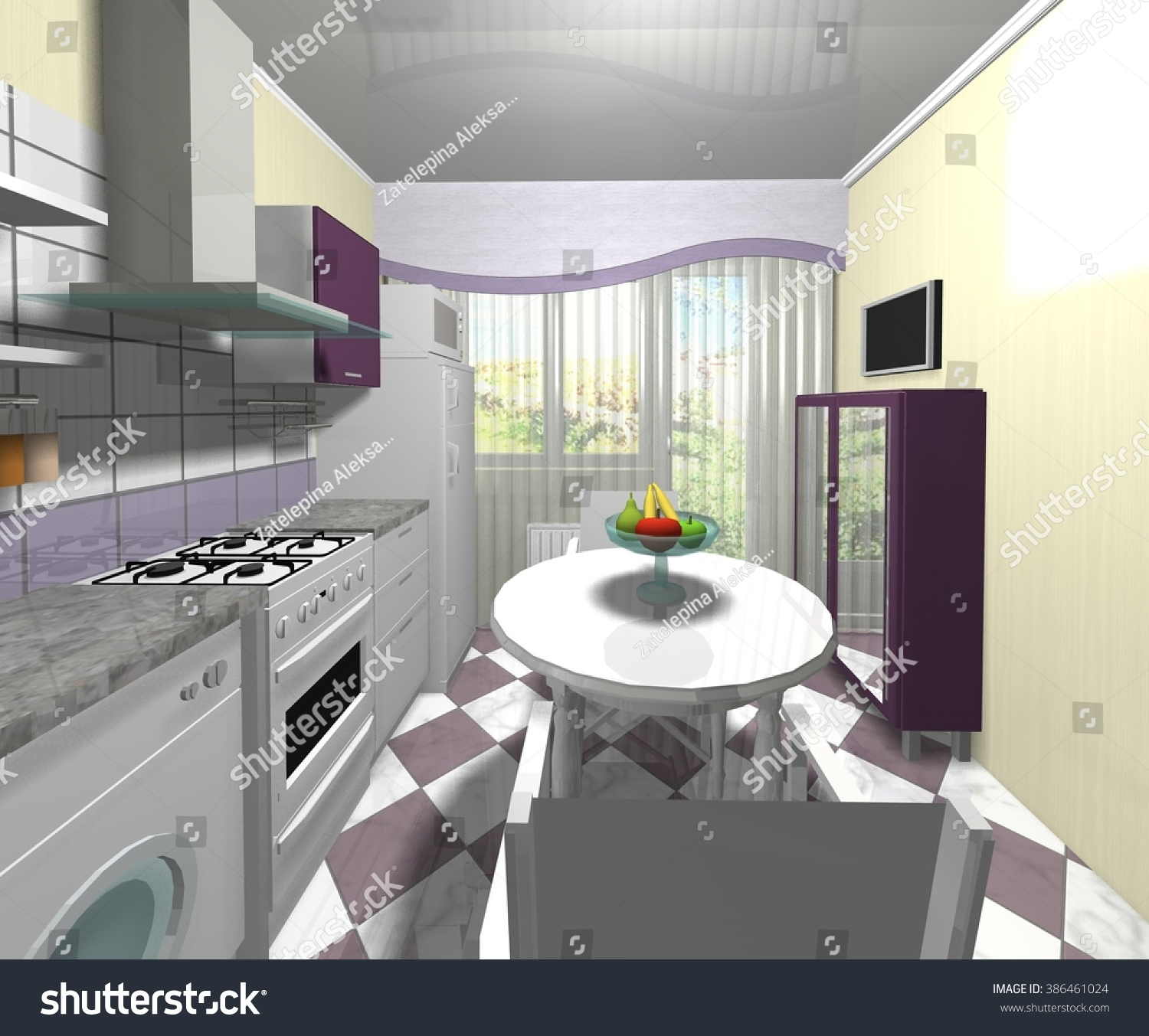 Traditional White Kitchen Design 3d Rendering: Interior Design Modern Kitchen 3d Rendering Stock
