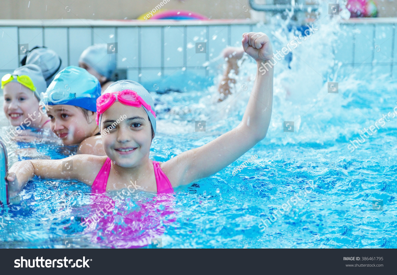 Happy Children Kids Group Swimming Pool Stock Photo 386461795 Shutterstock