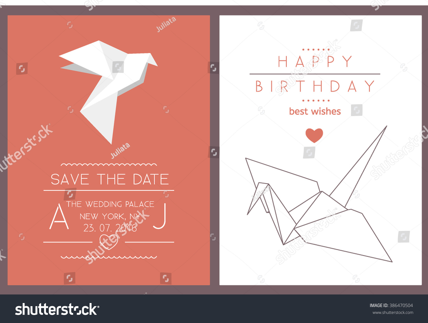 Collection 2 modern card templates origami stock vector 386470504 collection of 2 modern card templates with origami crane and dove save the date and jeuxipadfo Image collections